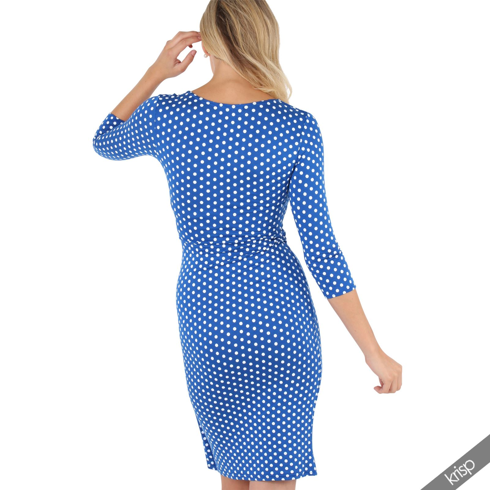 Womens-Polka-Dot-Dress-Pleated-Skirt-Wrap-Front-Midi-V-Neck-Top-Swing-Party thumbnail 30