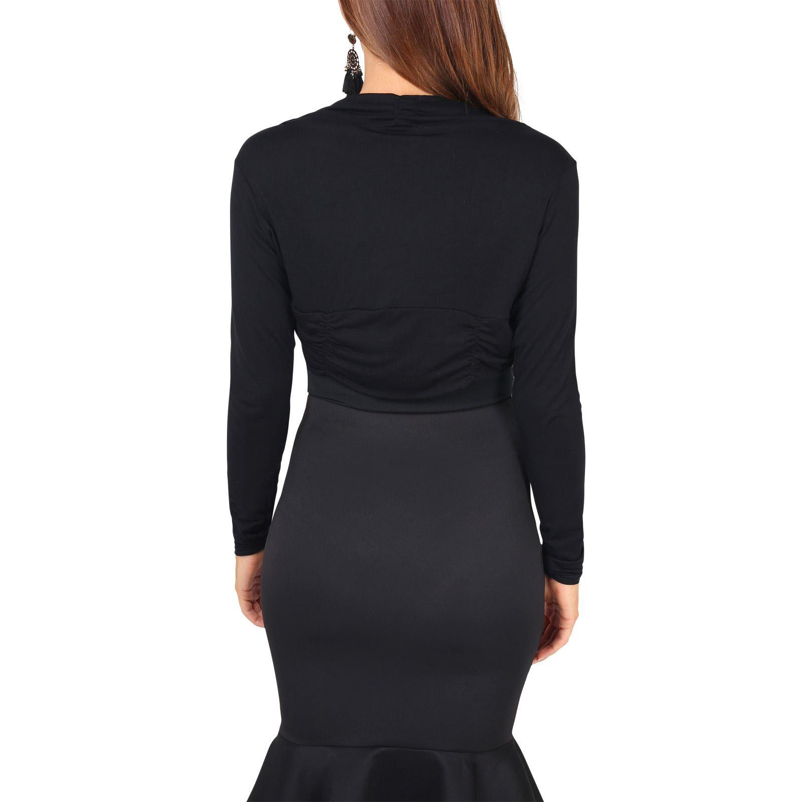 Femme-Bolero-Cardigan-Gilet-Dentelle-Crochet-Soiree-Classique-Uni-Court-Elegant miniature 11
