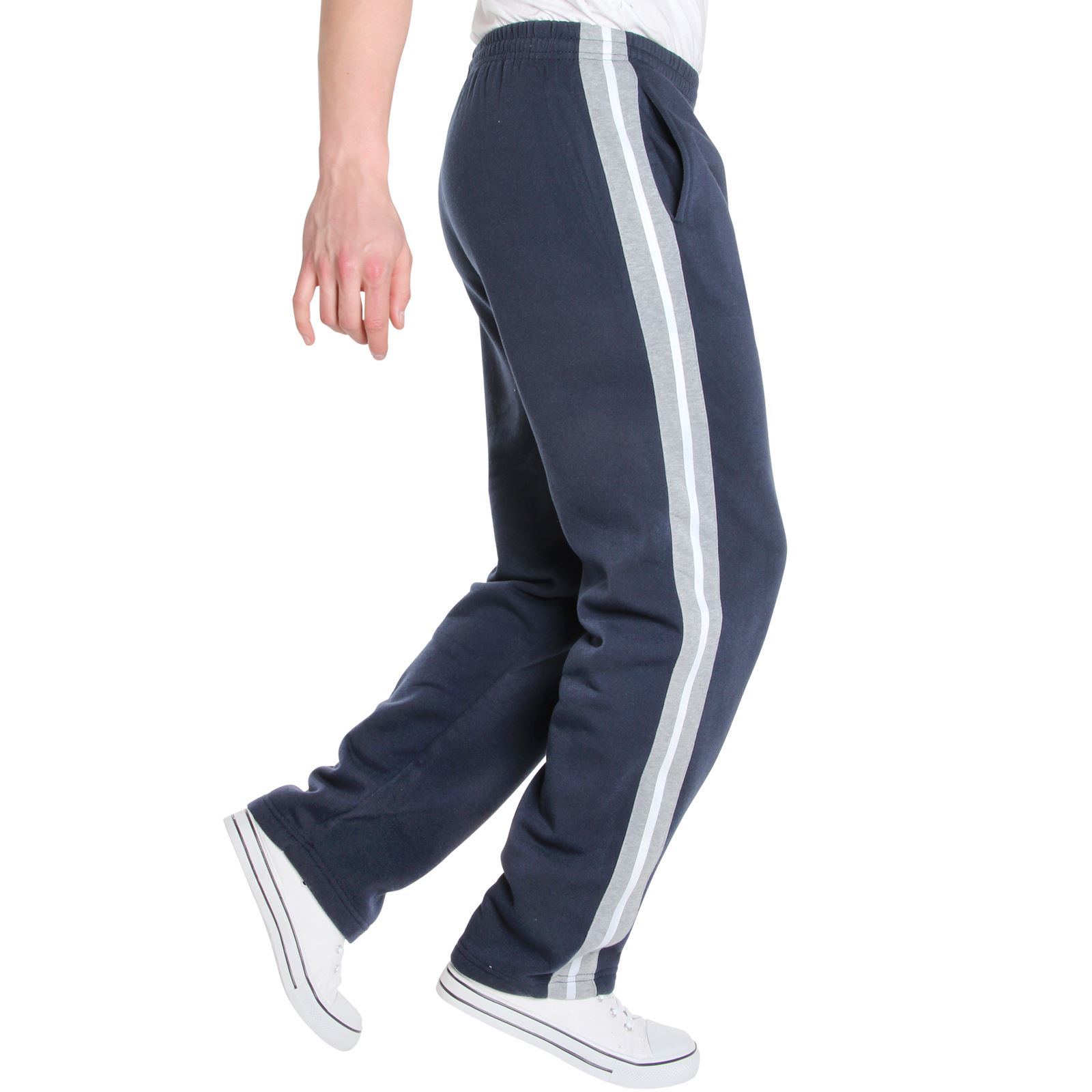 Mens-Tracksuit-Bottoms-Striped-Joggers-Jogging-Trousers-Fleece-Pants-Casual-Work thumbnail 33