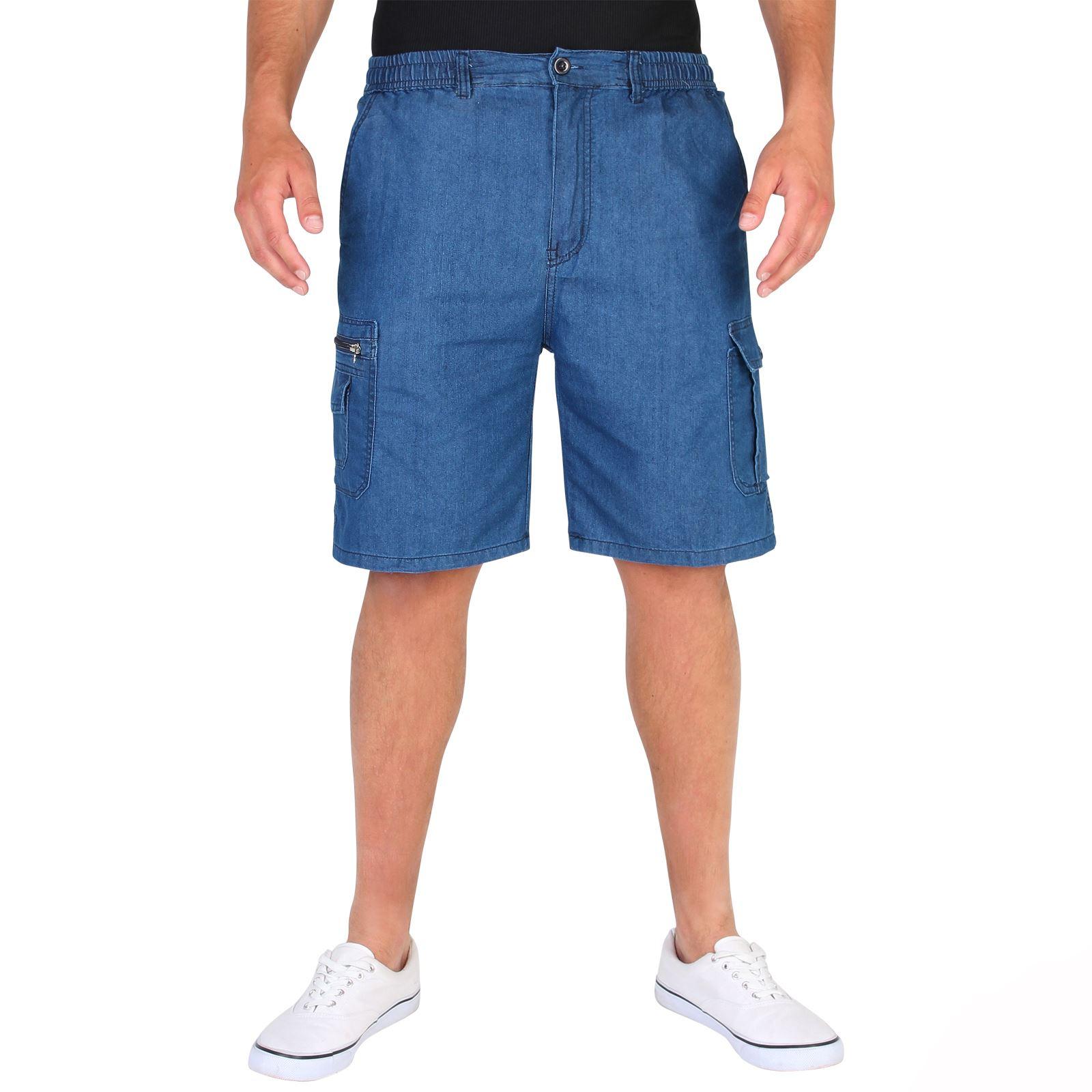 herren leichte denim cargo shorts knielang seitliche taschen combat jeanshose ebay. Black Bedroom Furniture Sets. Home Design Ideas