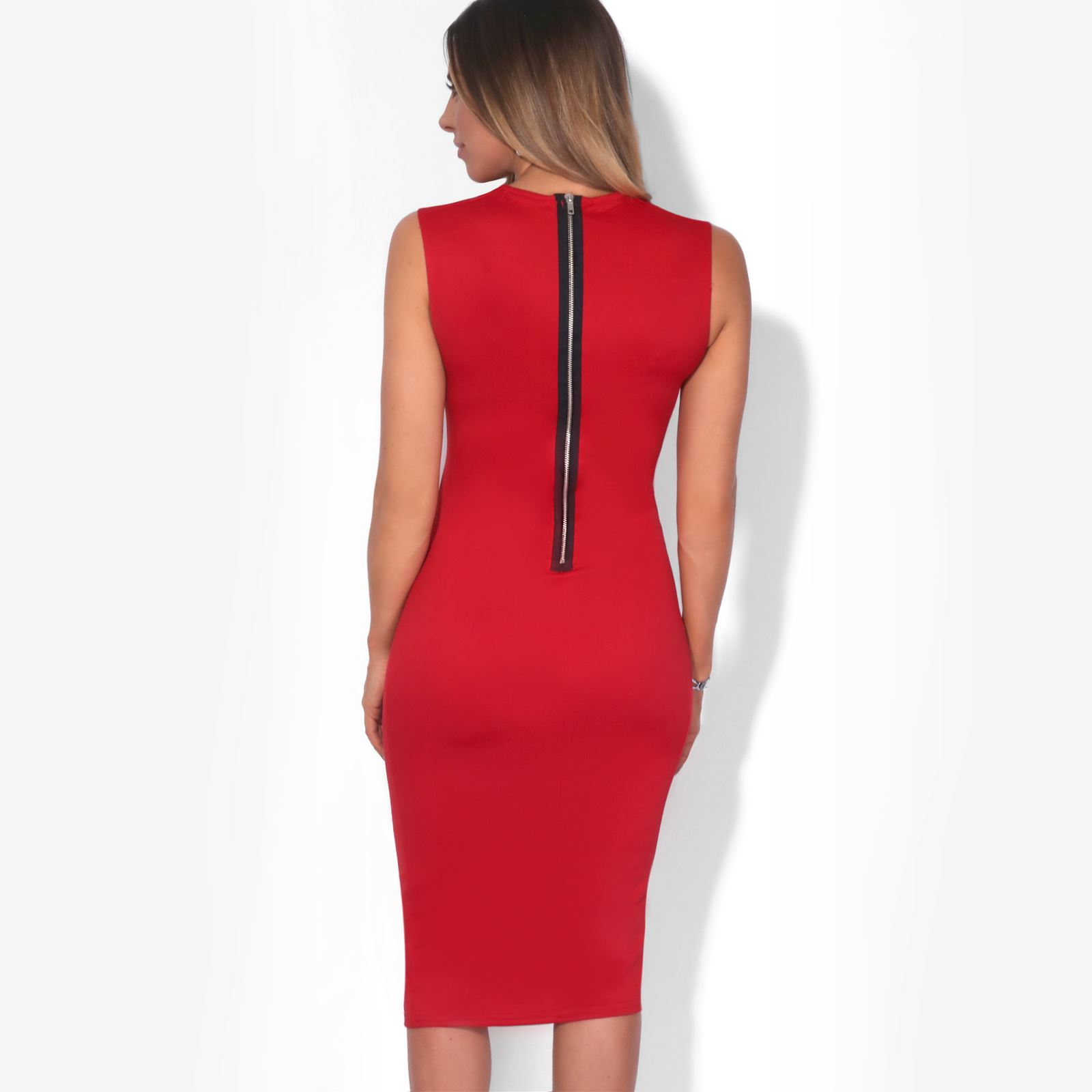 Womens-Pencil-Midi-Bodycon-Dress-Square-Neck-Panelled-Sexy-Zip-Party-Evening thumbnail 21
