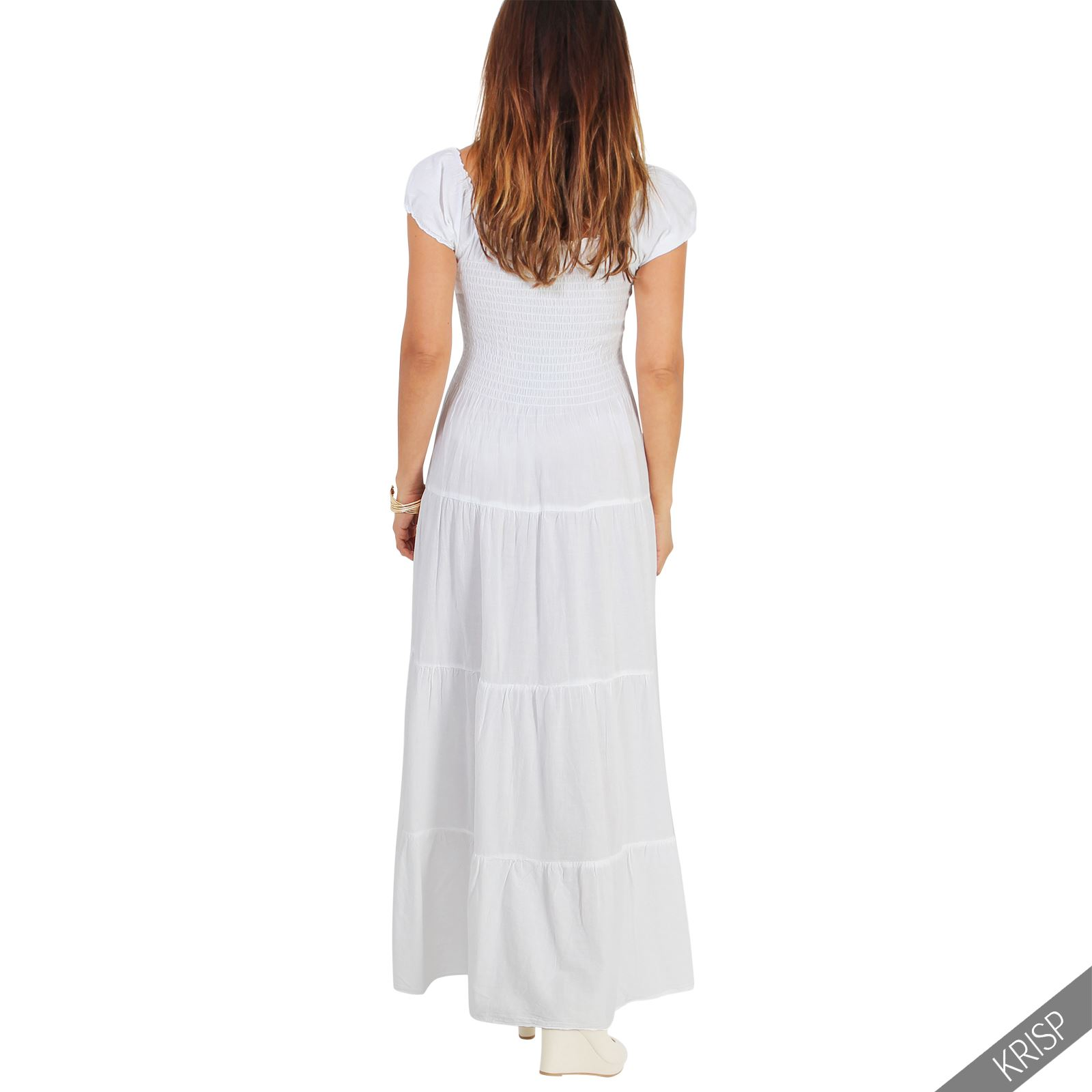 Damen Boho Maxi Kleid Einfarbig Bodenlang Baumwolle Sommer ...