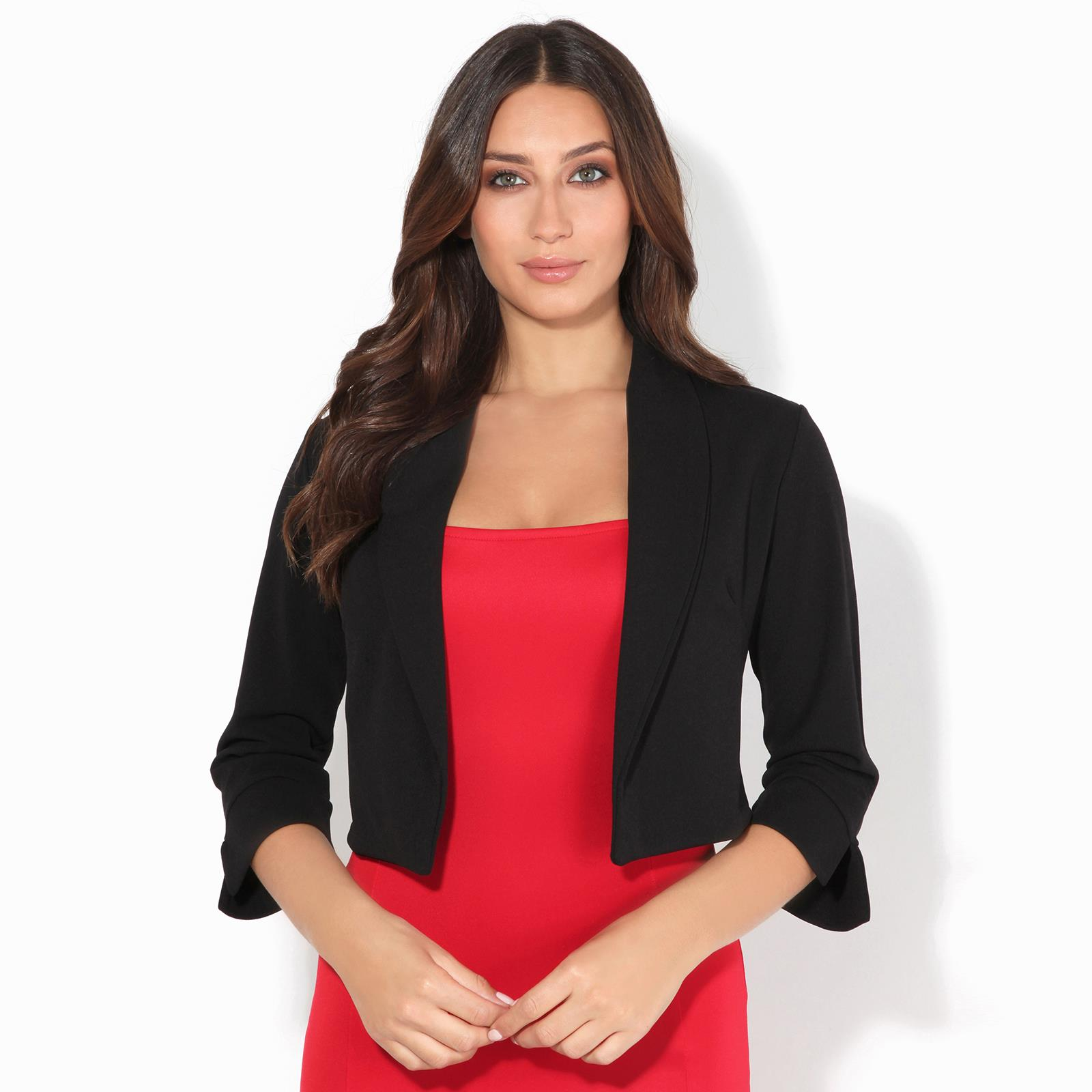 Outwear Shrug Bolero Party Office Womens Ladies 3//4 sleeve Knitted Comfy