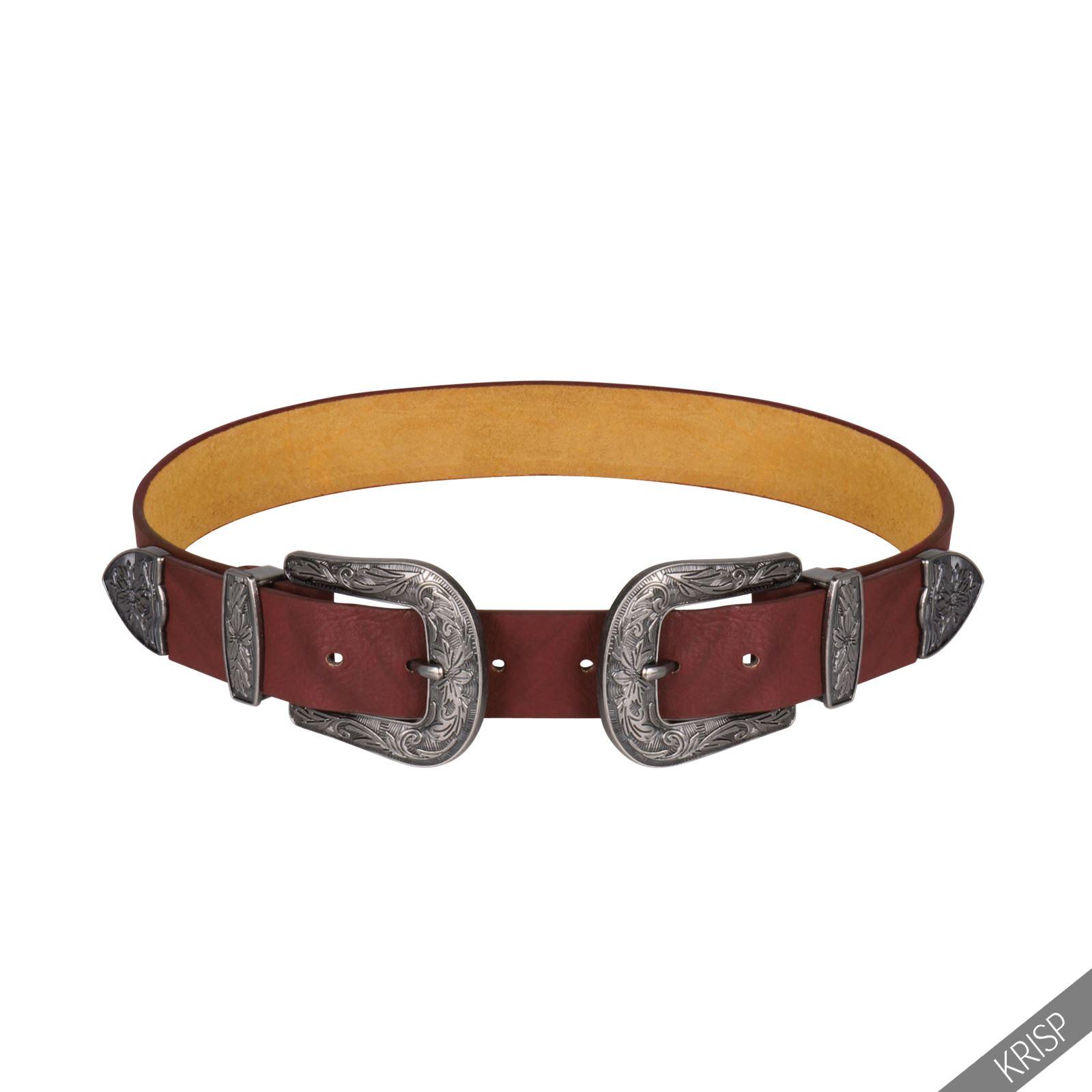 femmes ceinture double boucles m tal western cuir accessoire unisexe ajustable ebay. Black Bedroom Furniture Sets. Home Design Ideas