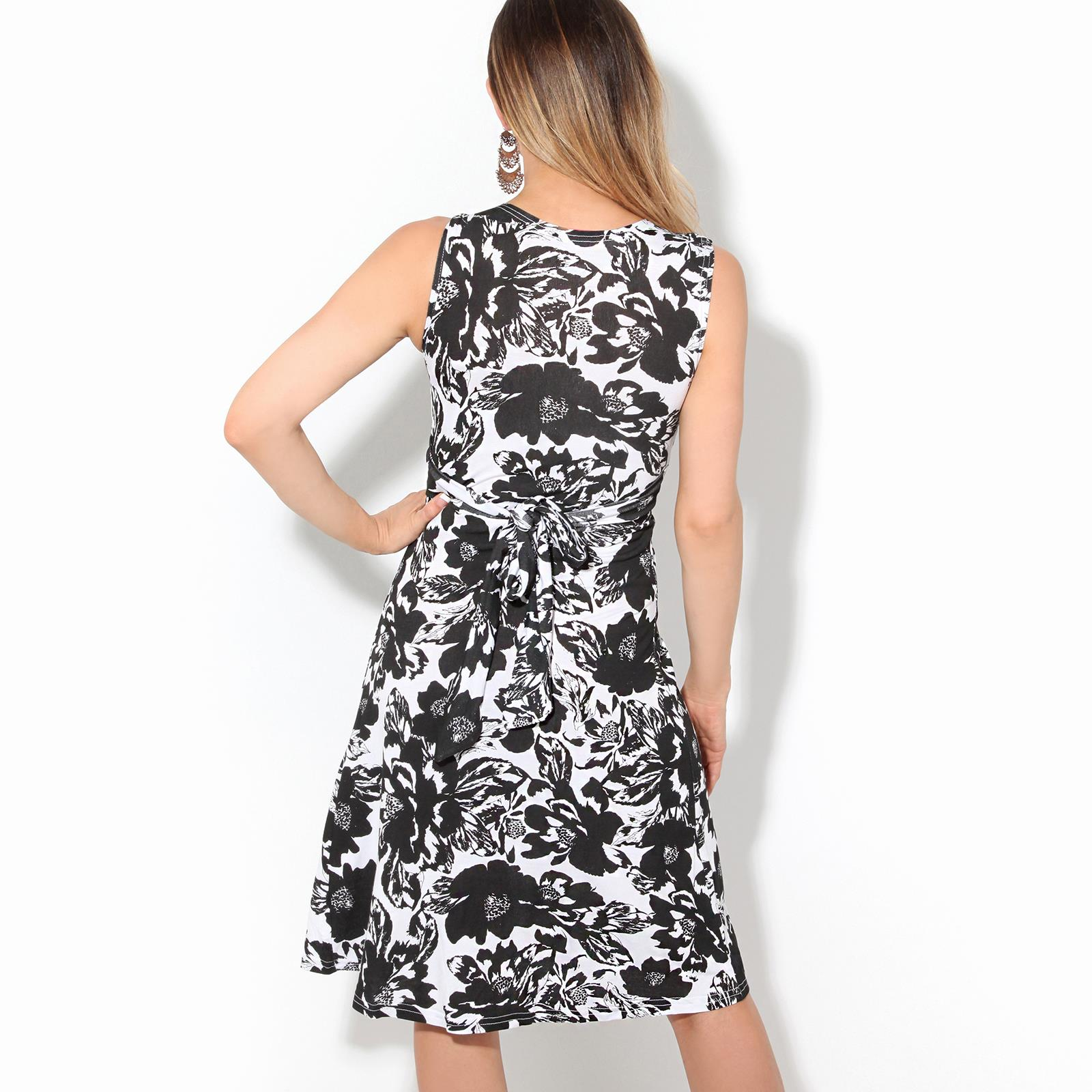 Womens-Ladies-Retro-Dress-Mini-Stretch-Drape-Ruched-Twist-Knot-Shift-Print thumbnail 22