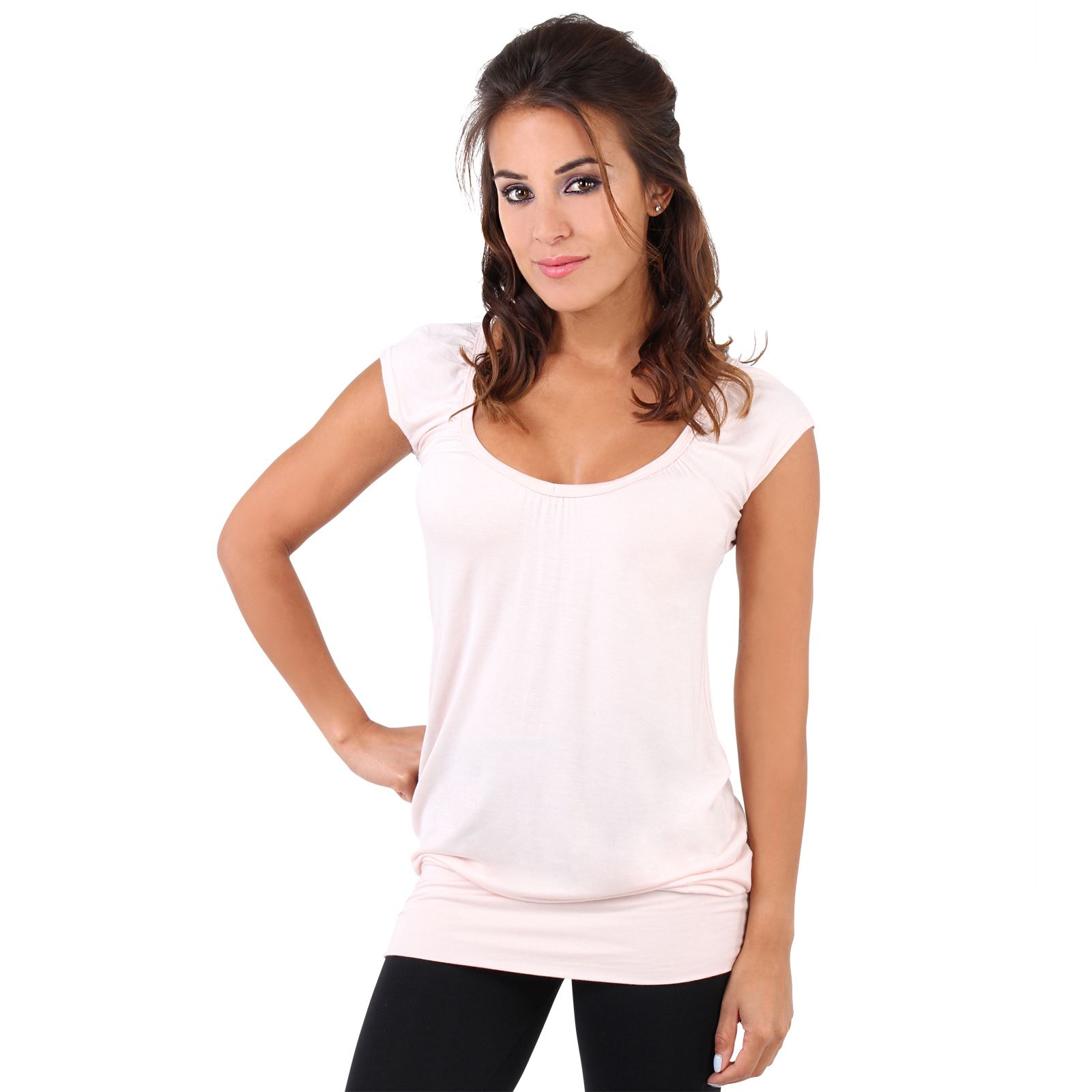 Womens-Ladies-Plain-T-Shirt-Short-Sleeve-Long-Loose-V-Neck-Blouse-Tunic-Top thumbnail 39