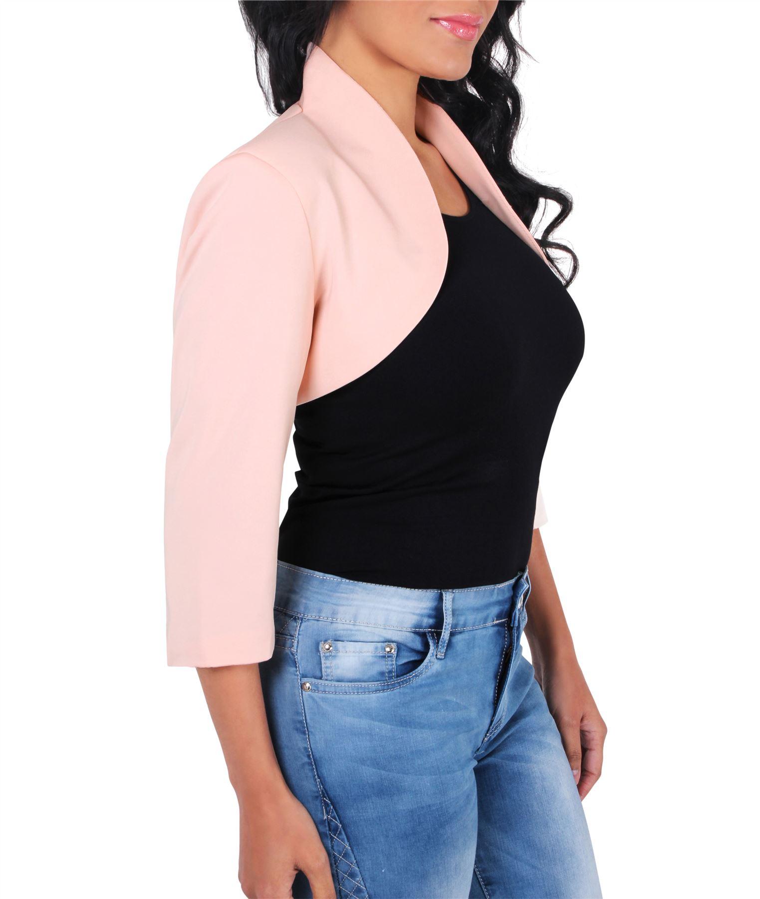 Womens-Tailored-Bolero-Shrug-Cropped-Top-Short-Sleeve-Party-Blazer-Jacket-Coat thumbnail 10