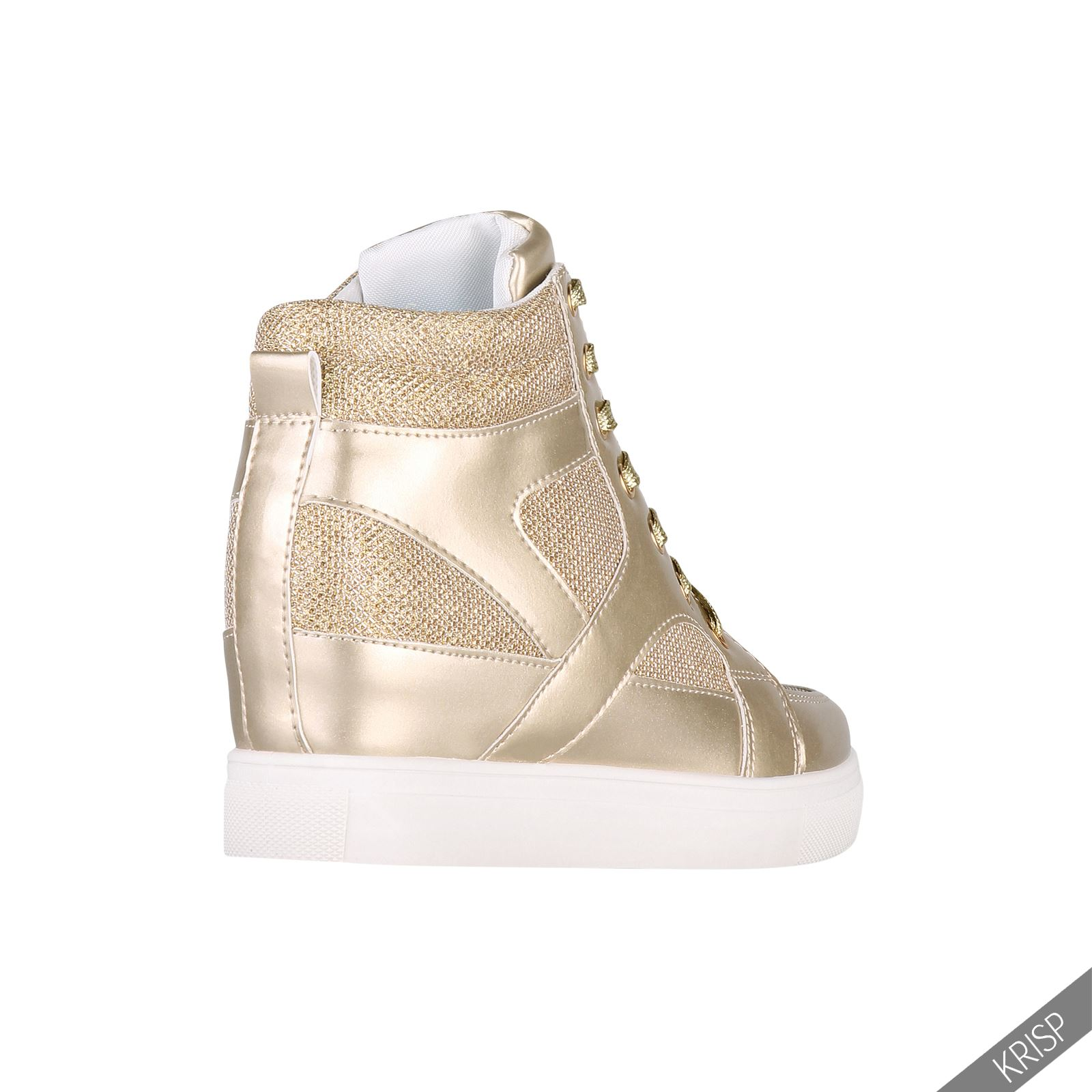 5aef25c1c0 Damen Glitter High Top Sneaker Wedge Keilabsatz Strass Perlen ...