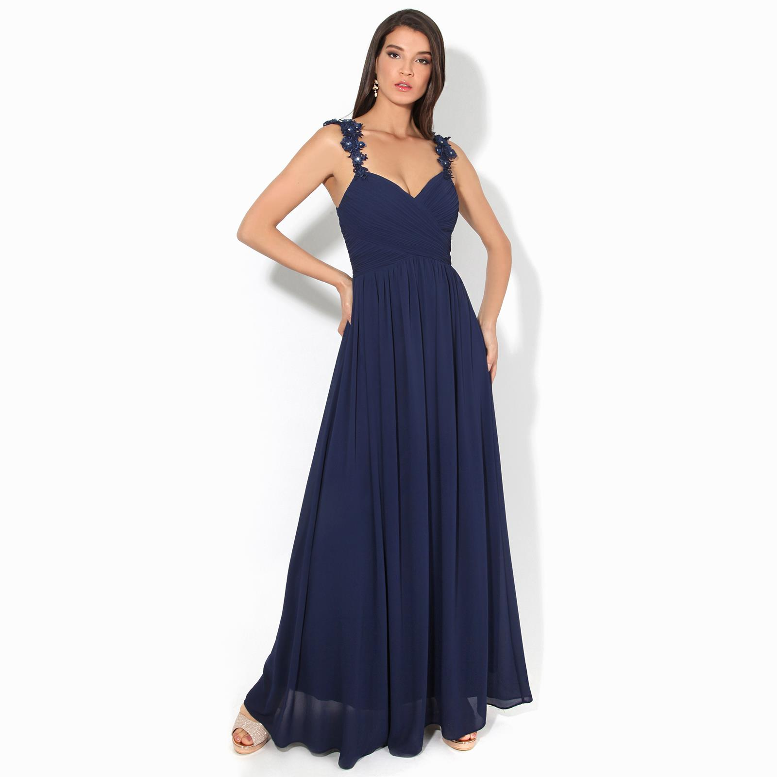 Women-Maxi-Dress-Ladies-Formal-Evening-Party-Cocktail-Lace-Chiffon-Gown-Party thumbnail 21
