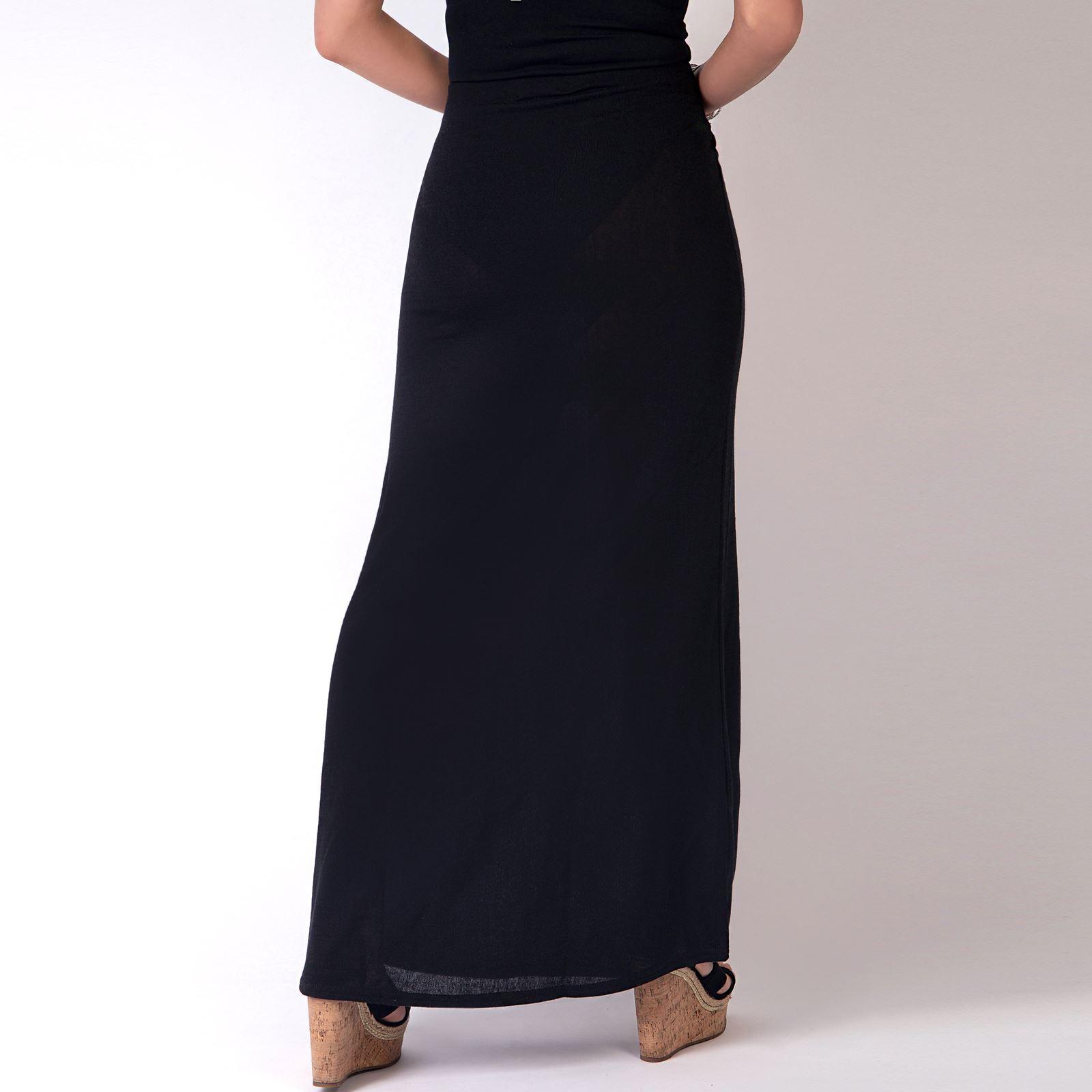 Womens-Ladies-Maxi-Skirt-High-Waist-A-Line-Long-Knit-Stretch-Bodycon-Casual-Boho thumbnail 3