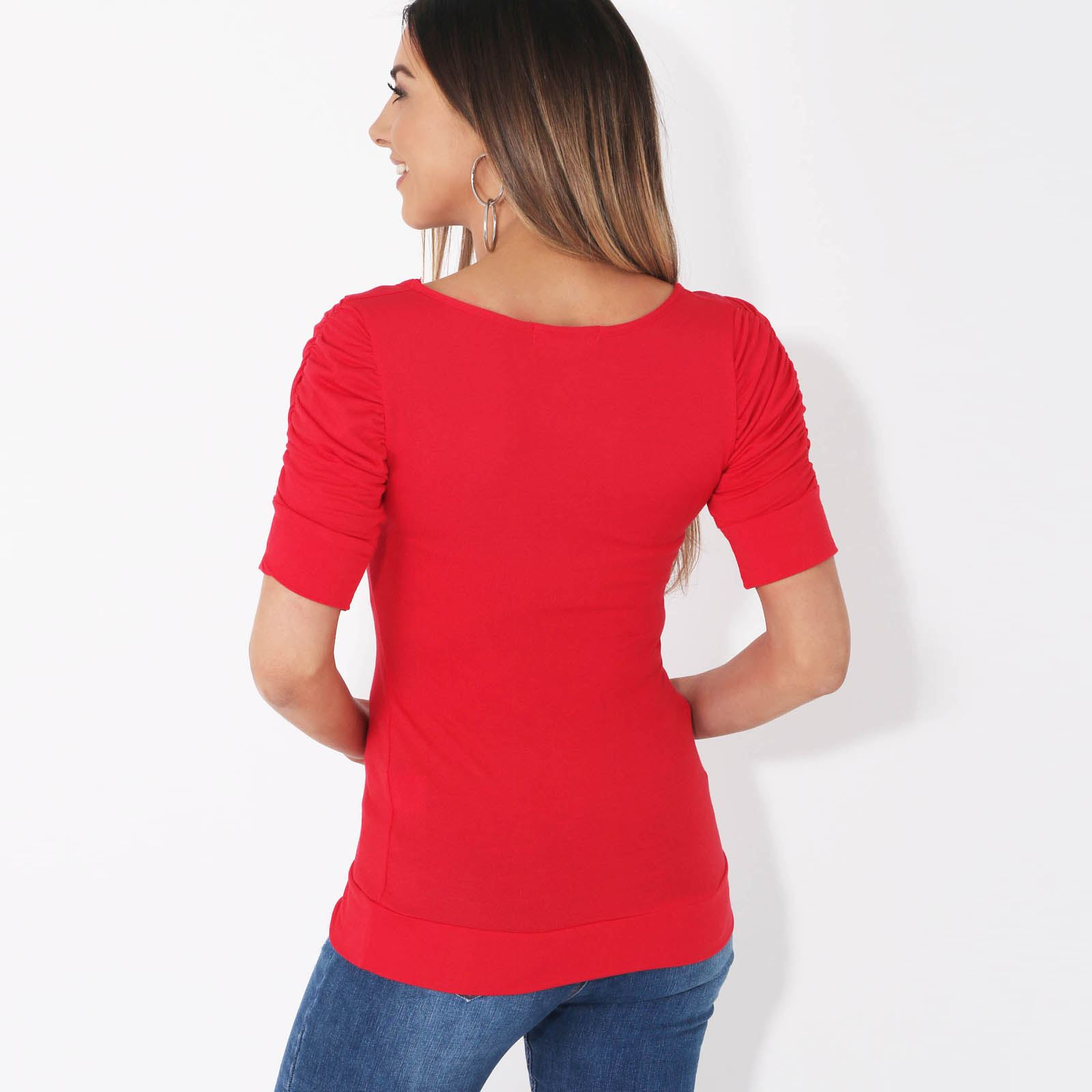 Womens-Ladies-Long-Blouse-Ruched-Pleated-Sleeve-Stretch-Jersey-Plunge-Top-Tshirt thumbnail 26