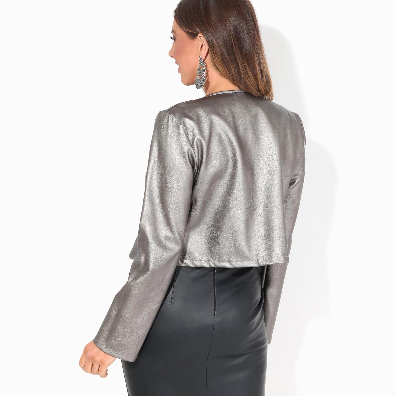 Womens-Ladies-PU-Leather-Biker-Jacket-Open-Bolero-Short-Coat-Shrug-Cropped-Top thumbnail 5
