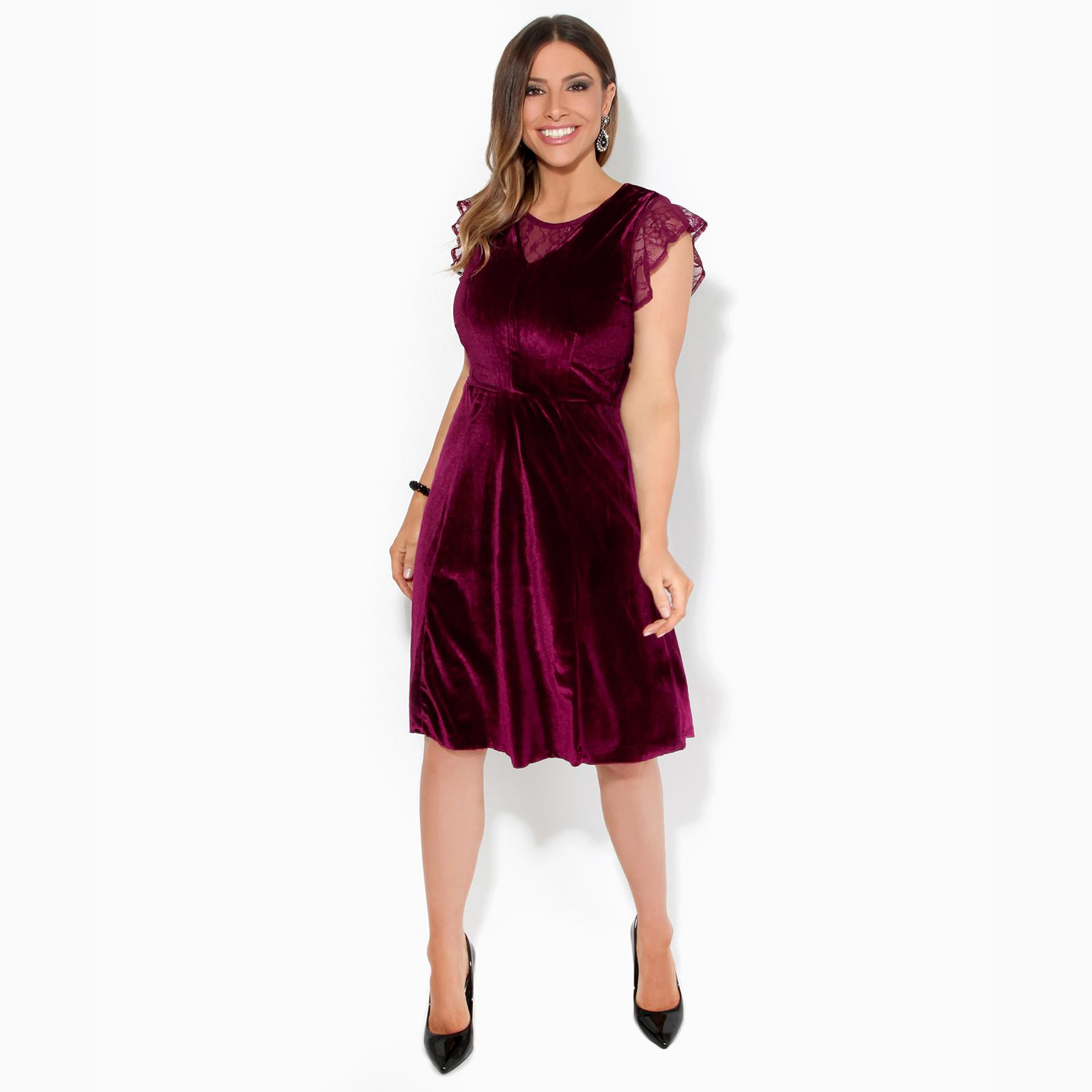 Women-Ladies-Lace-Velvet-Party-Midi-Skater-Dress-Stretch-Fit-Flared-Sexy-Evening thumbnail 9