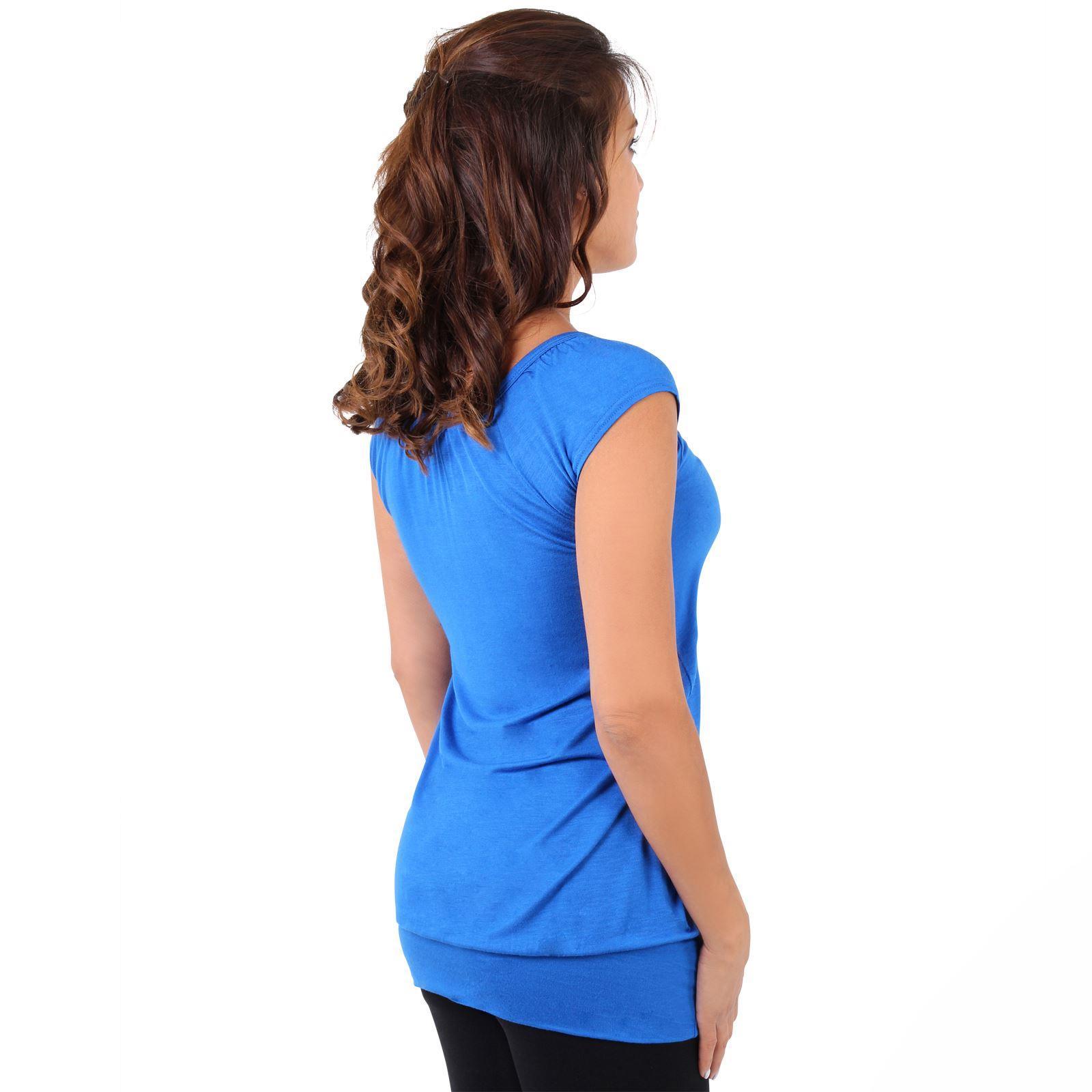 Womens-Ladies-Plain-T-Shirt-Short-Sleeve-Long-Loose-V-Neck-Blouse-Tunic-Top thumbnail 53