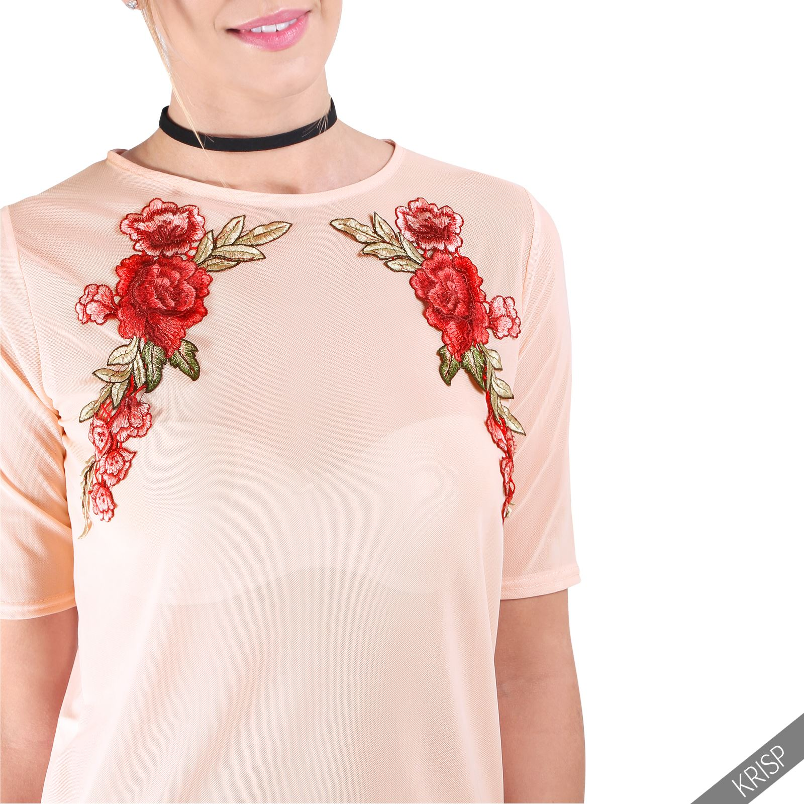 New womens flower embroidered crop mesh see through sheer for Embroidered mesh t shirt
