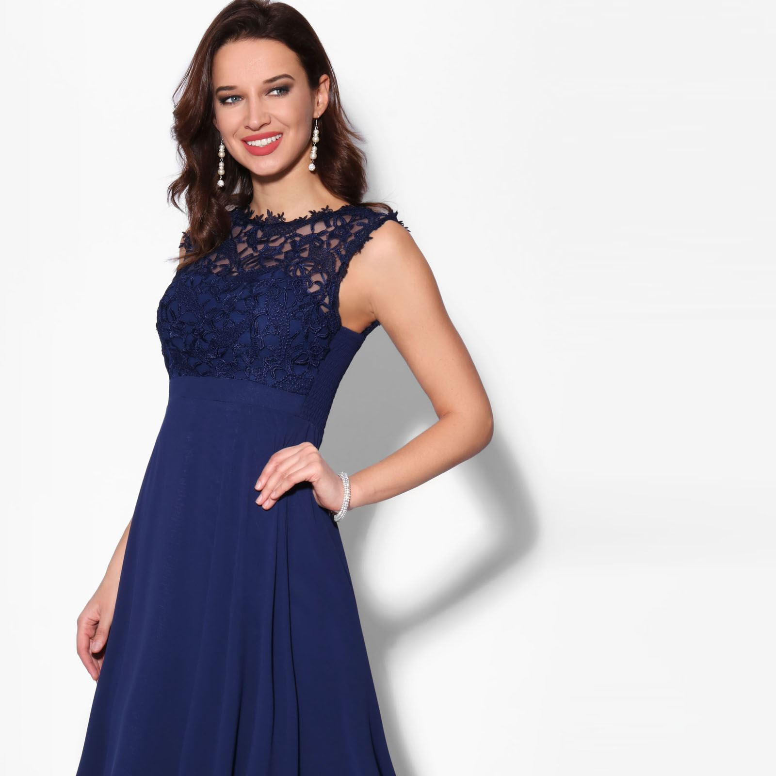 Women-Maxi-Dress-Ladies-Formal-Evening-Party-Cocktail-Lace-Chiffon-Gown-Party thumbnail 17