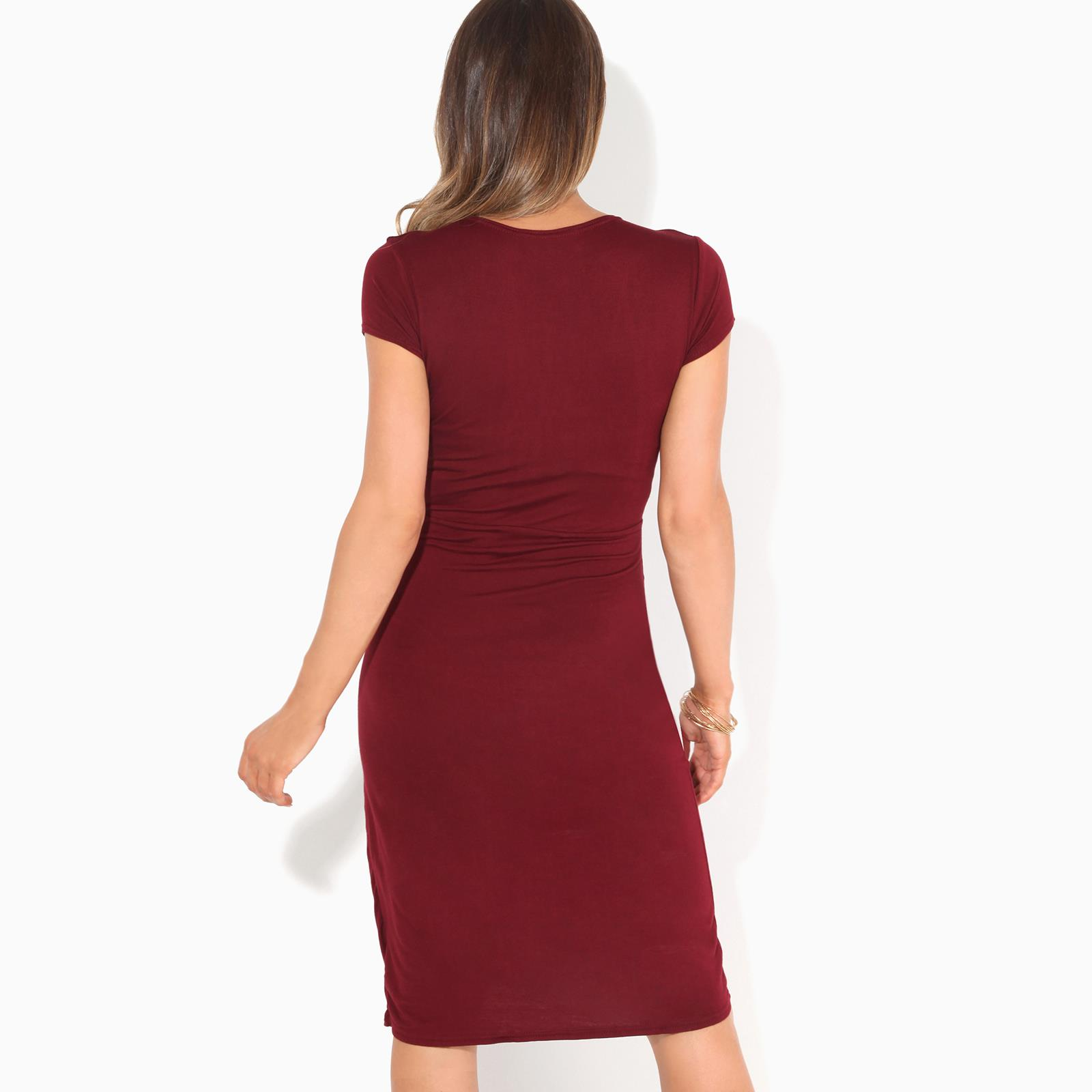Womens-Ladies-V-Neck-Wrap-Midi-Dress-Front-Pleated-Skirt-Top-Cap-Sleeve-Party thumbnail 33