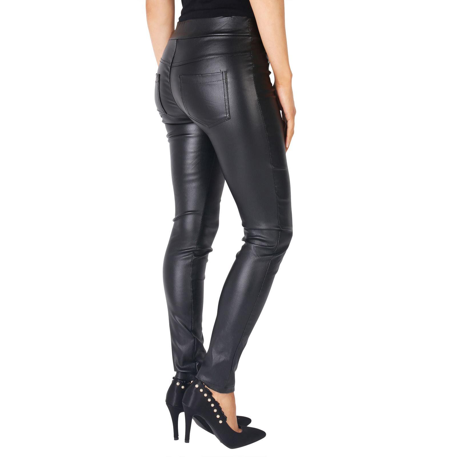 KRISP-Pantalones-Vestir-Invierno-Elasticos-Tacto-Cuero-Elegante-Fiesta
