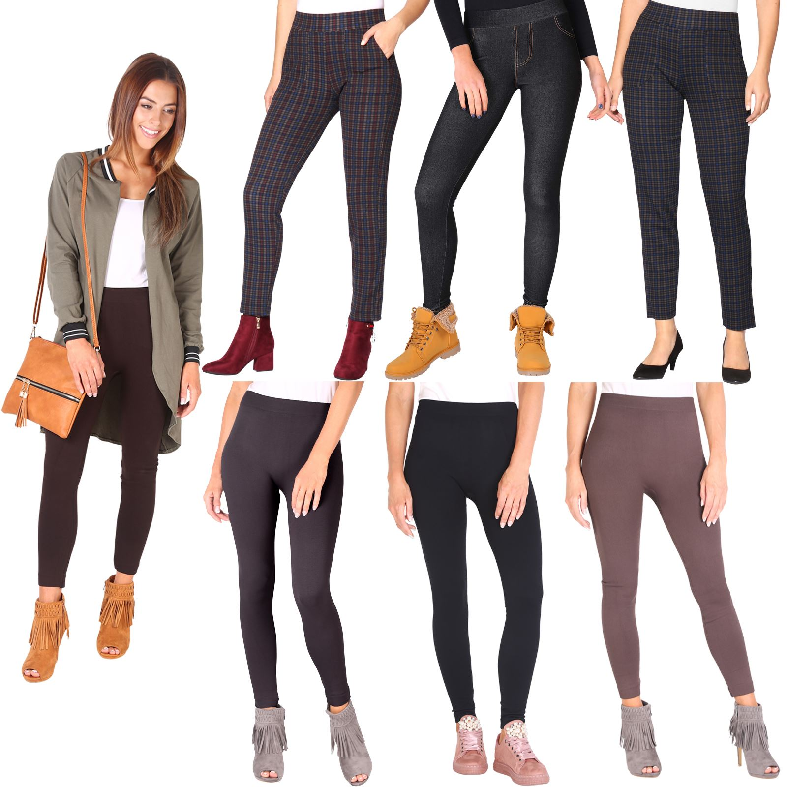WOMENS LADIES STRETCH LINED BUTTON DETAIL TRENDY JEANS LOOK LEGGINGS JEGGINGS