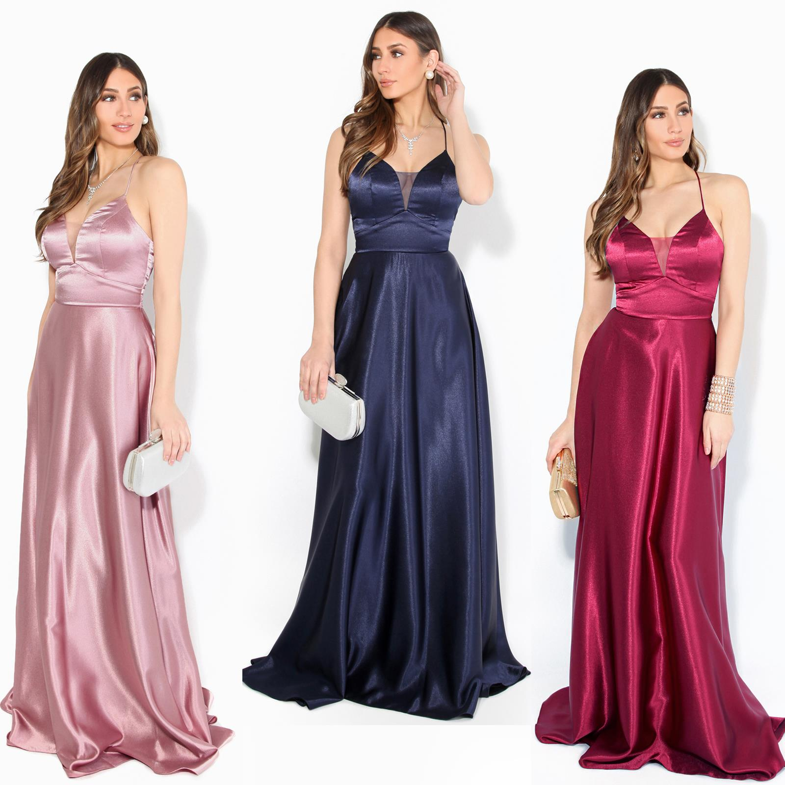 Women Ladies Strappy Maxi Dress Satin Evening Gown Wedding Cocktail Party Plus Ebay,Wedding Dress Shops In Miami