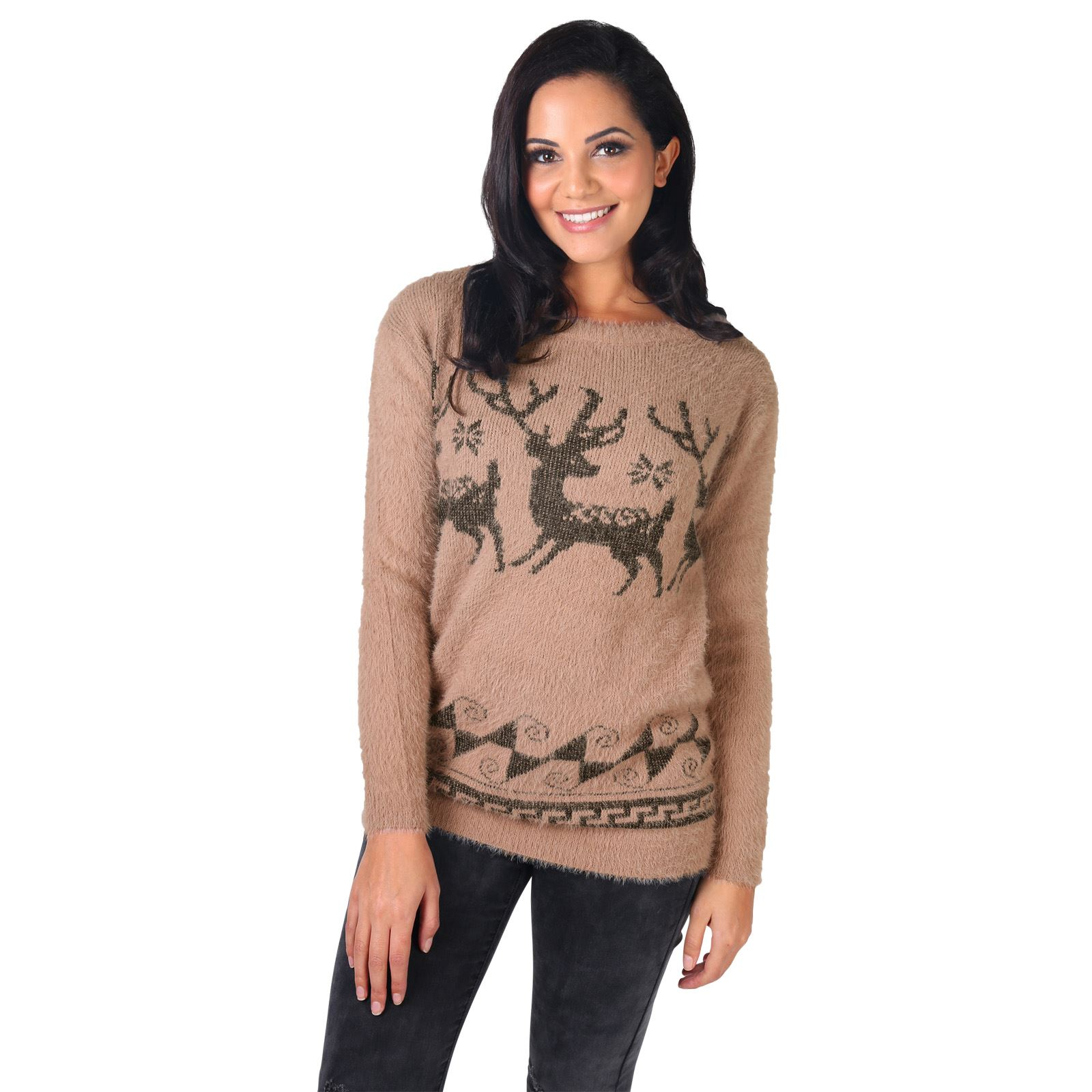 Womens Xmas Christmas Jumper Ladies Novelty Retro Pullover ...