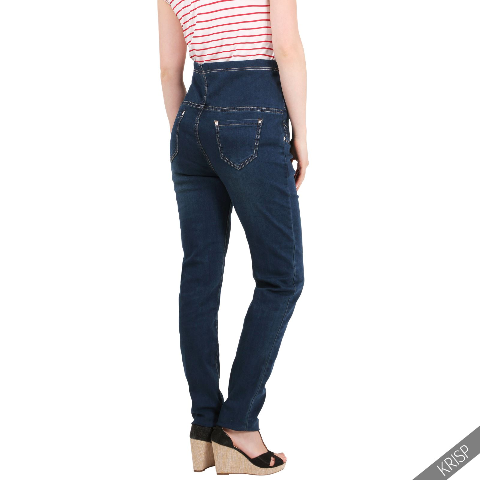 Finally! Stylish maternity jeans with a ribbed adjustable waist. Our popular ultra-stretch jeans, designed for expecting mothers. Ribbed waistband made from gentle fabric provides an .