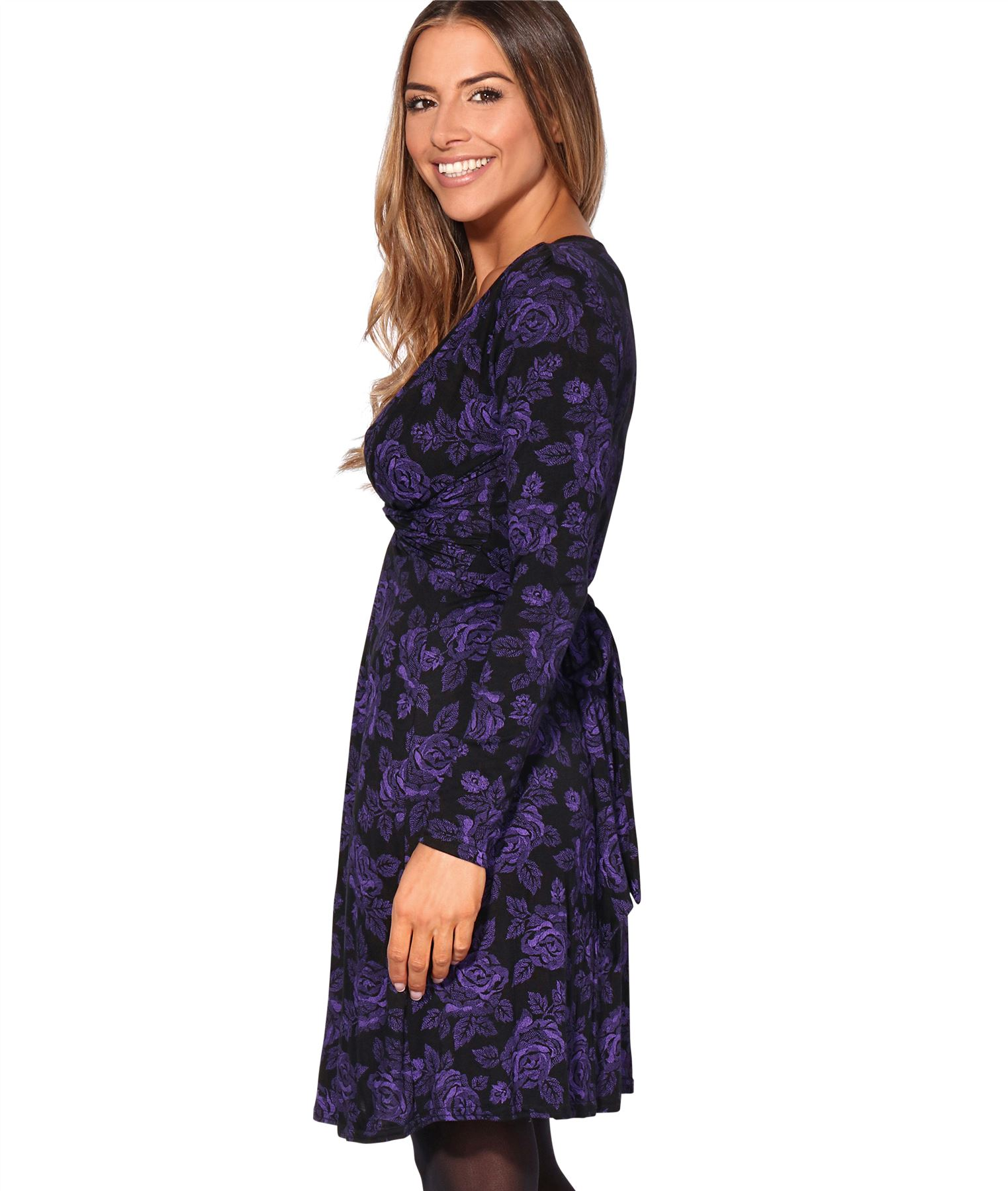 Womens-Ladies-Mini-Dress-Drape-Stretch-Long-Sleeve-Ruched-Twist-Knot-Party-Work thumbnail 61