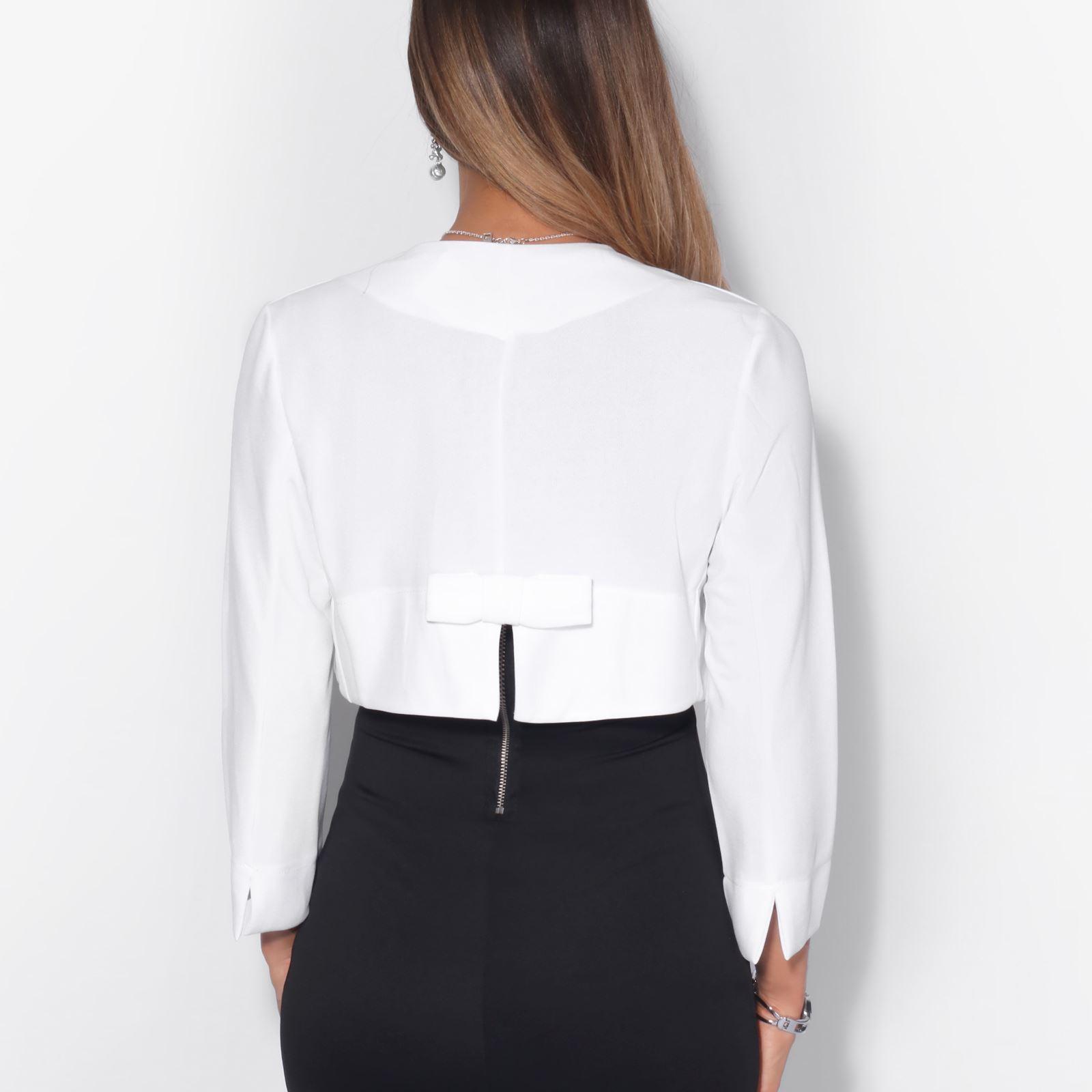Womens-Ladies-Bolero-Shrug-Crop-Top-Open-Fit-Blazer-Evening-Bow-Jacket-Wedding thumbnail 21