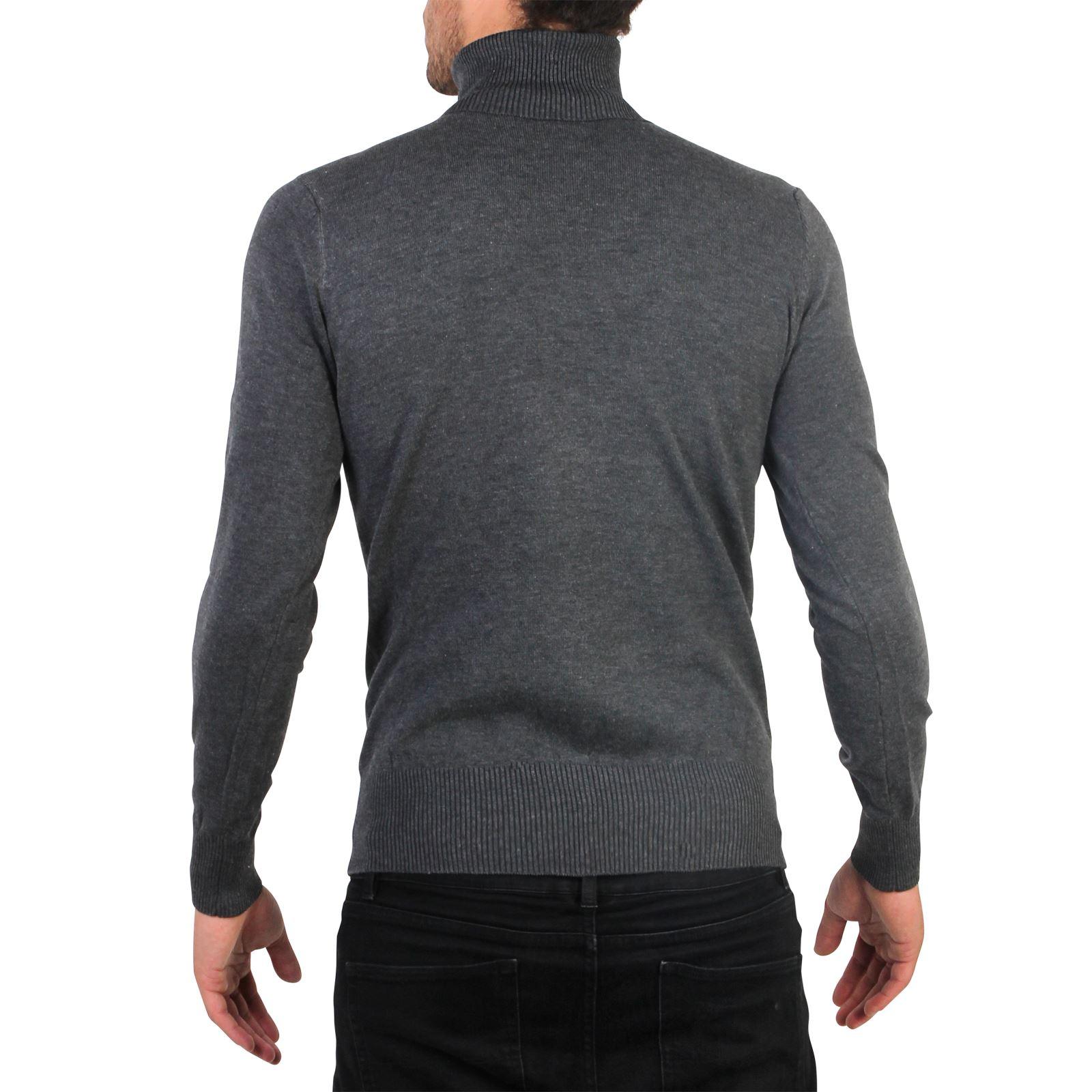 Hommes-Pull-Col-Roule-Uni-Classique-Manche-Longue-Polo-T-Shirt-Slim-Fit-Coton miniature 3