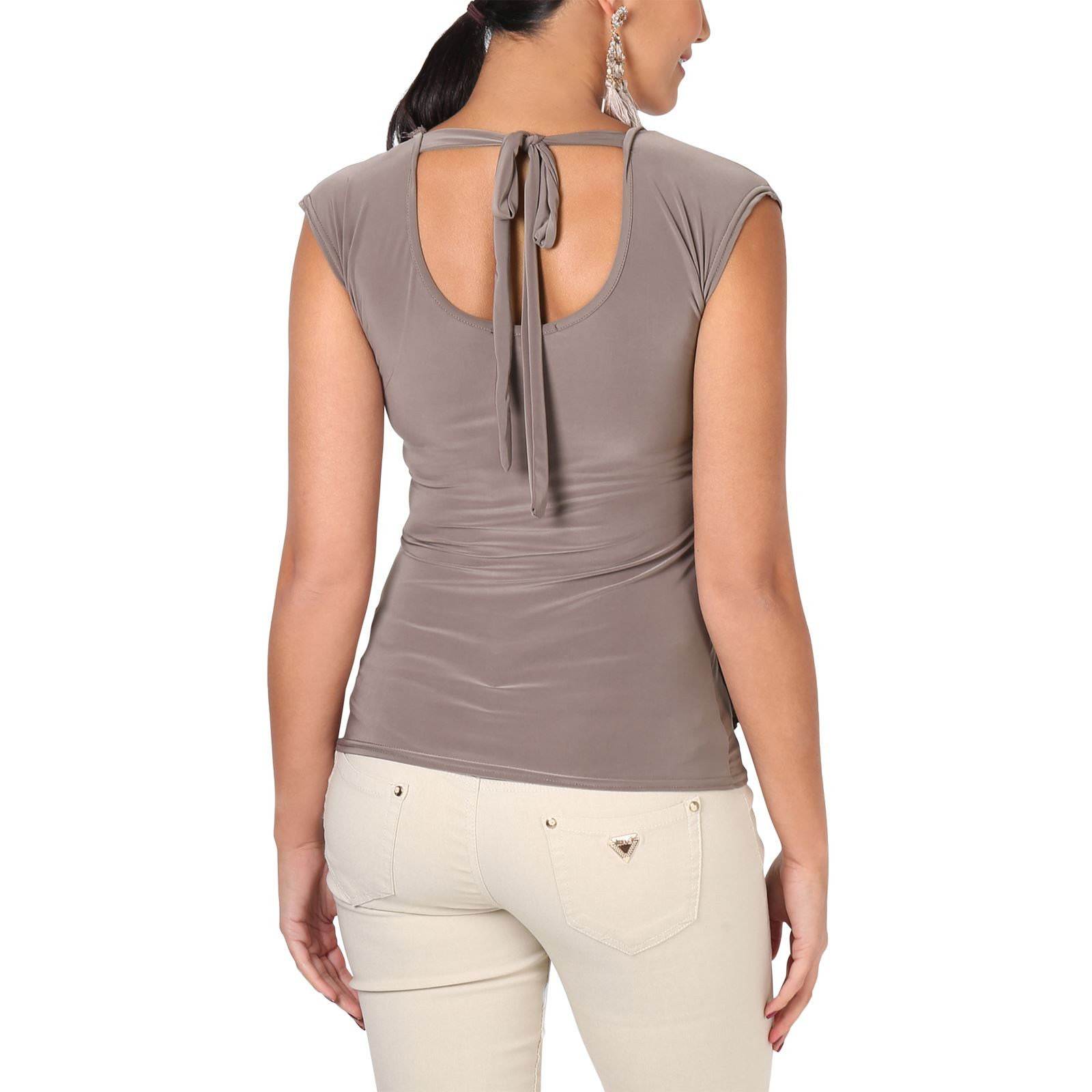 Womens-Ladies-Cowl-Neck-Blouse-Sleeveless-Stretch-Summer-Jersey-Top-Size-8-20 thumbnail 10