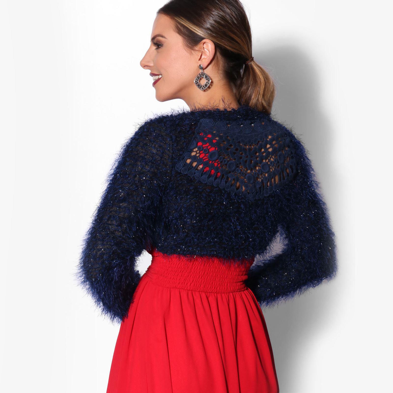 KRISP-Damen-Bolero-Jacke-Kurzes-Jaeckchen-Elegante-Schulterjacke-Blazer-Frauen Indexbild 3