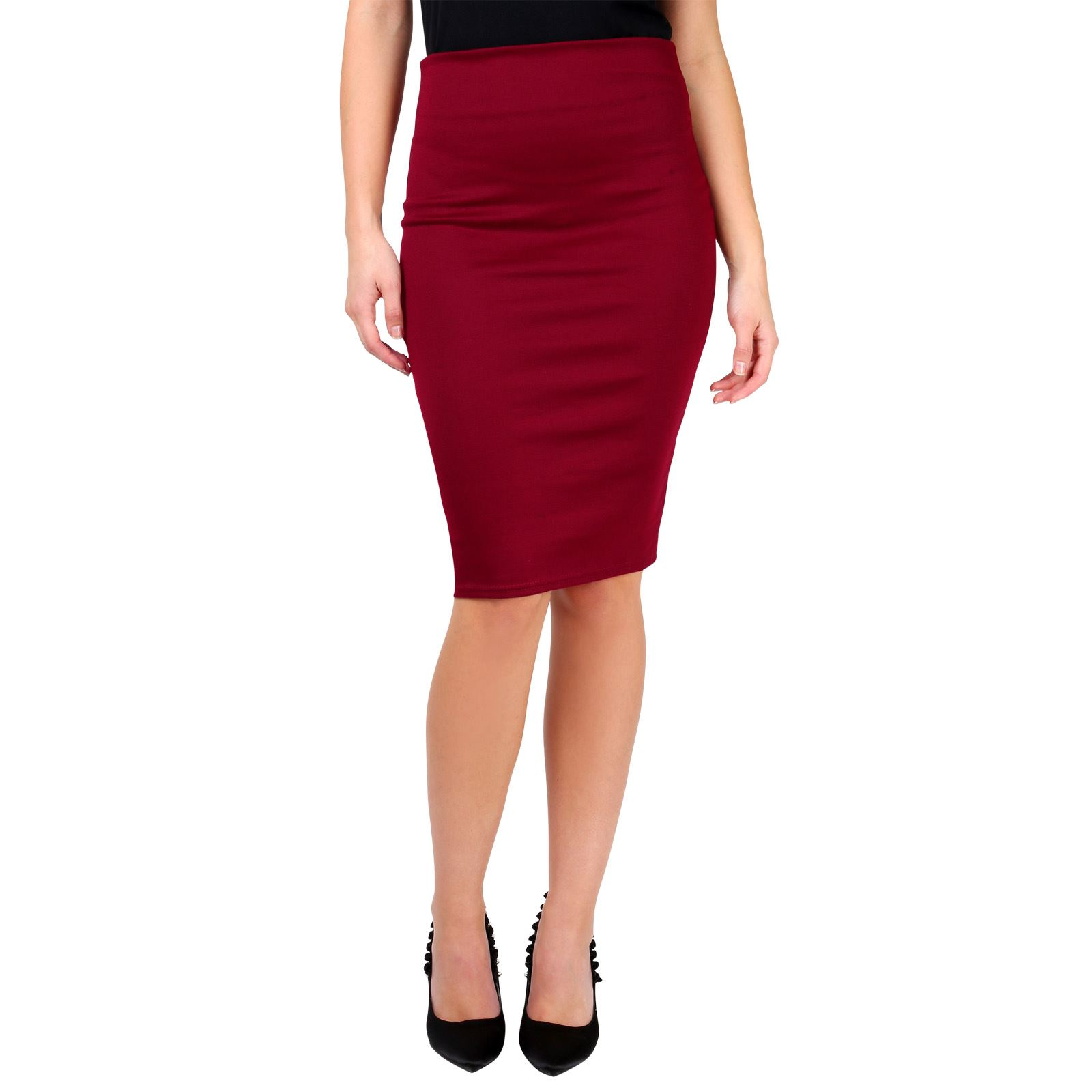 womens stretch fitted pencil belt midi bodycon
