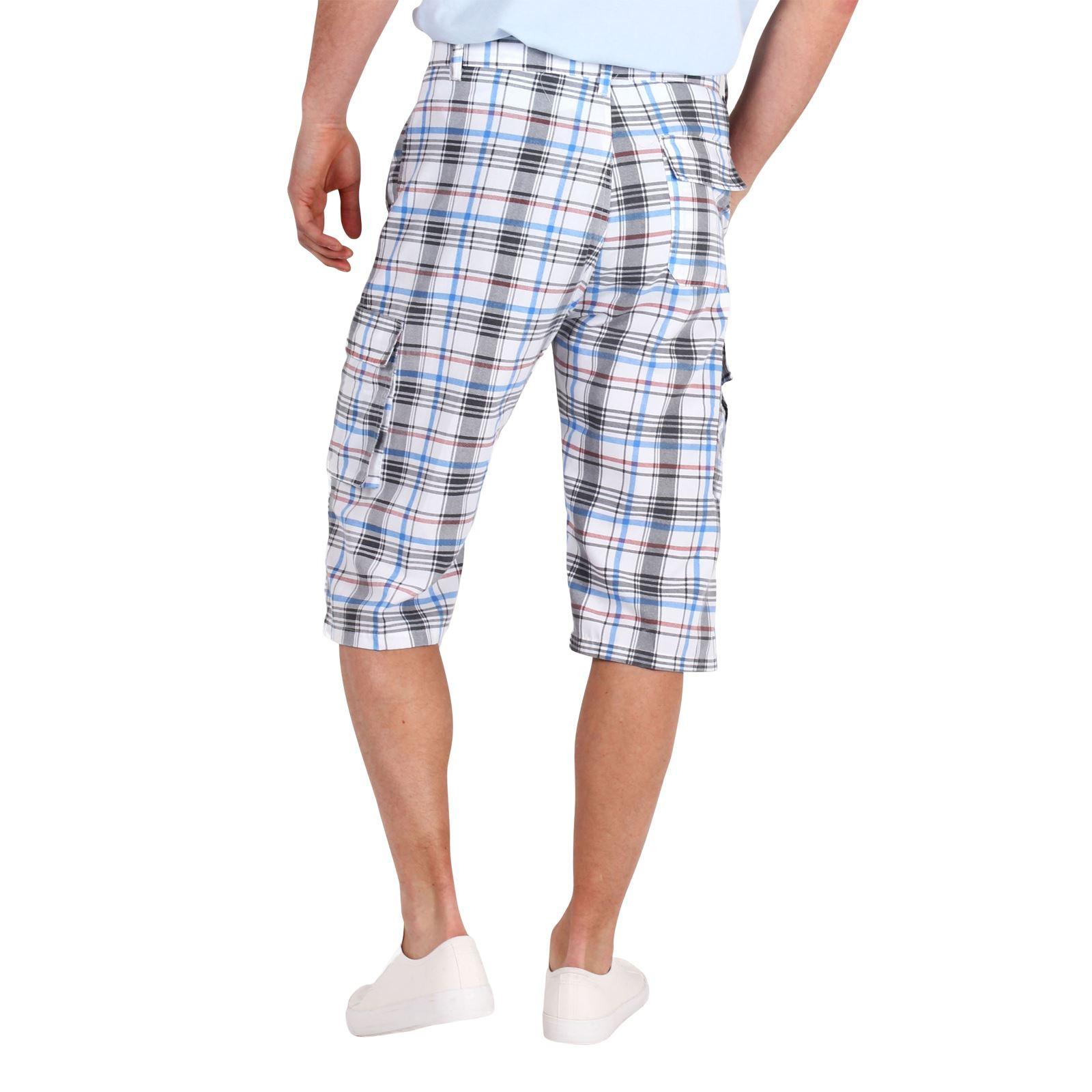 herren 3 4 karierte sommer shorts kurze hose bermuda cargo freizeithose karo ebay. Black Bedroom Furniture Sets. Home Design Ideas