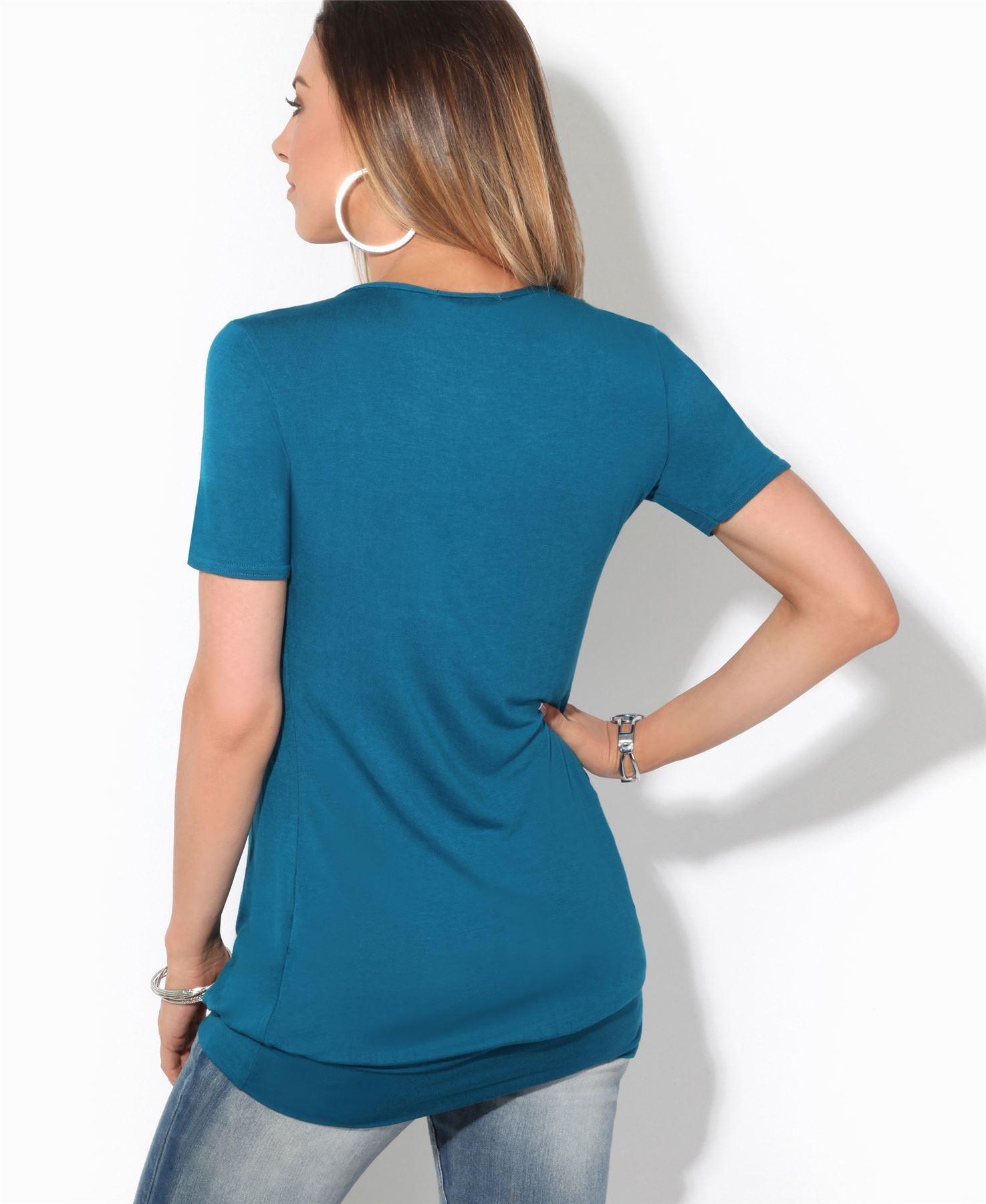 Femmes-Top-Haut-Chemisier-T-Shirt-Chemise-Blouse-Tunique-Long-Grandes-Tailles miniature 7
