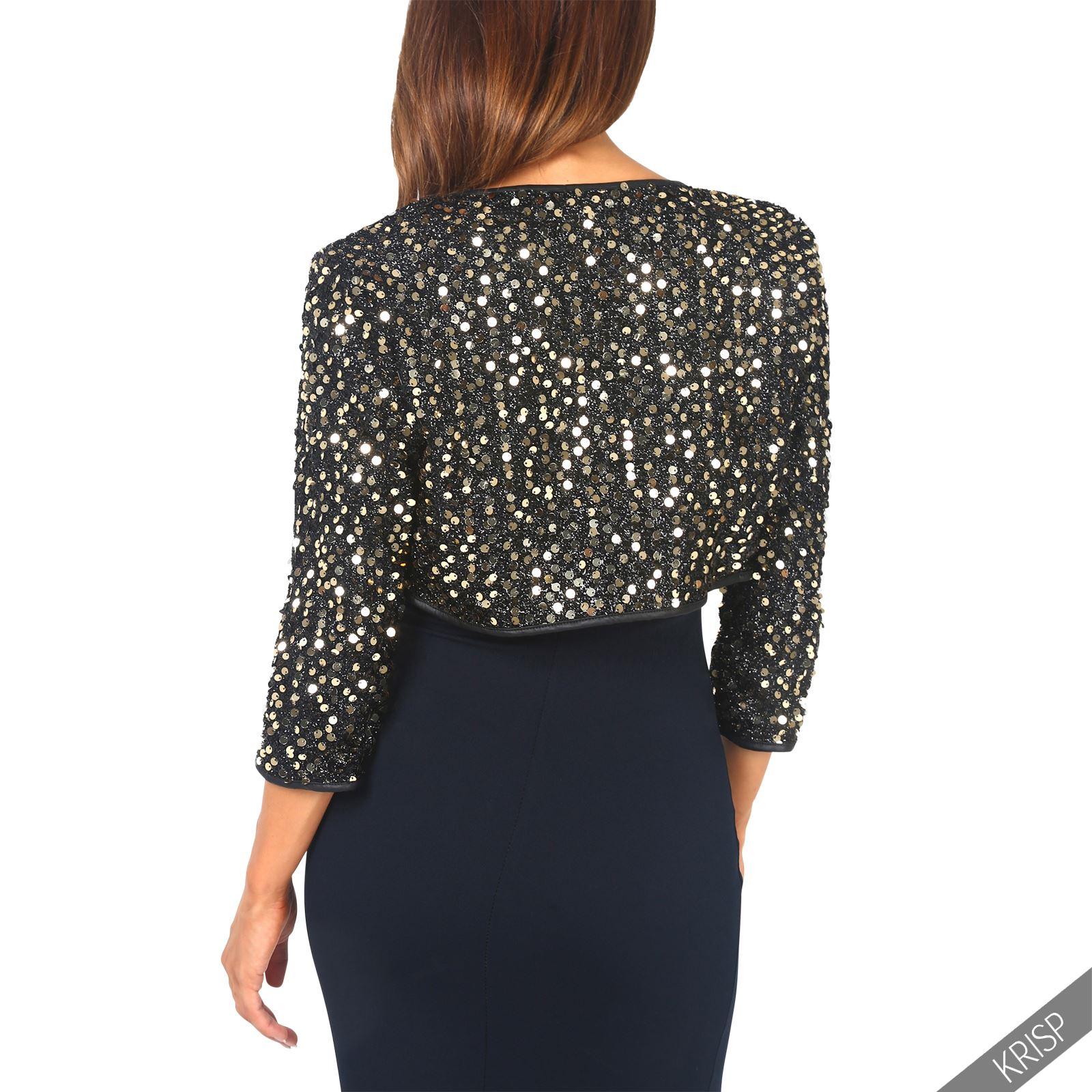 womens sequin shrug bolero cropped top open cardigan. Black Bedroom Furniture Sets. Home Design Ideas