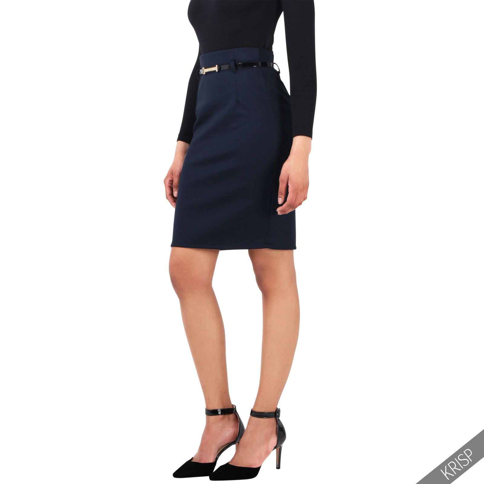 Womens Fitted Belted Stretch Pencil Midi Skirt Formal ...