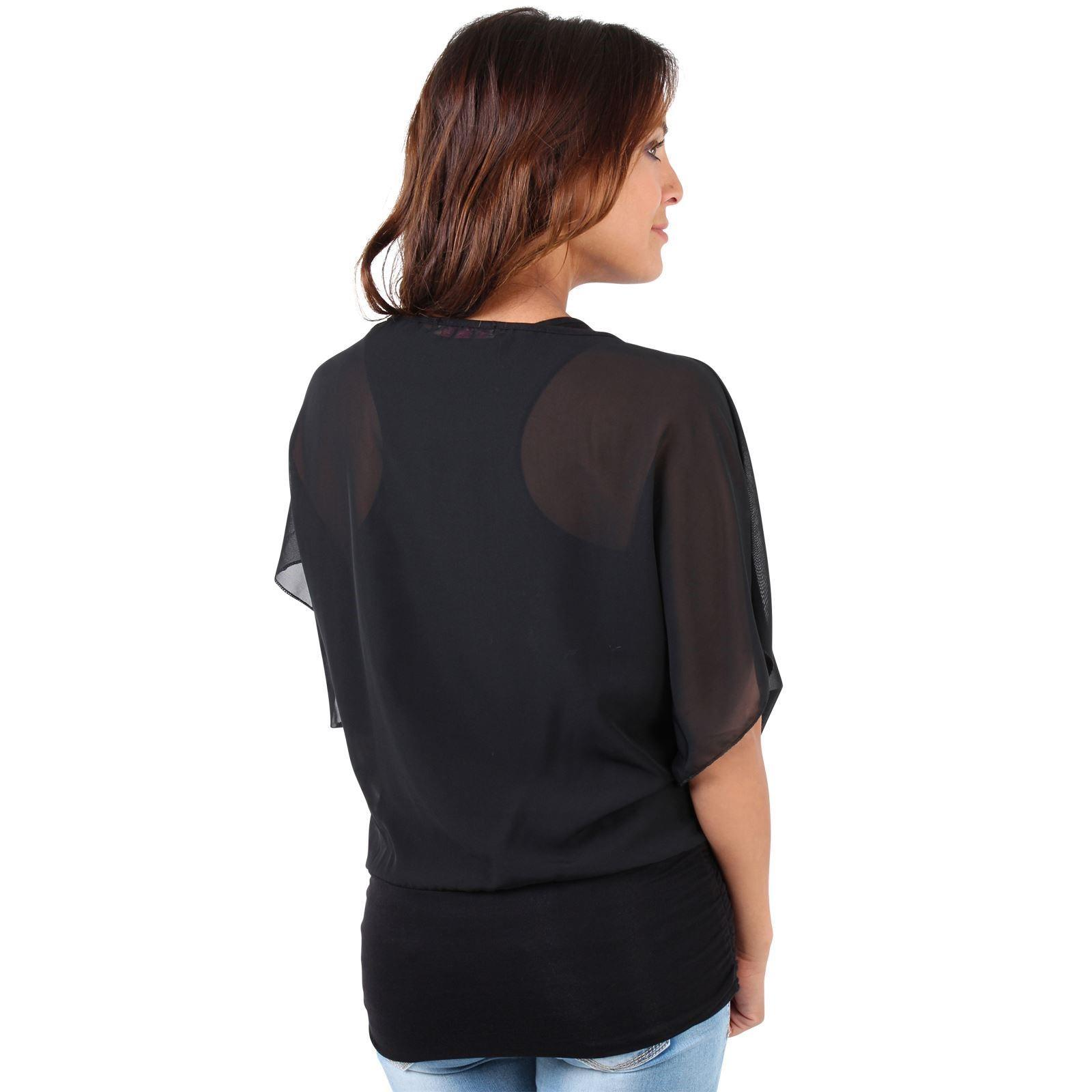 Womens-Scoop-Neck-Blouse-Baggy-Batwing-T-Shirt-Top-Ladies-Oversized-Chiffon-2in1 thumbnail 8