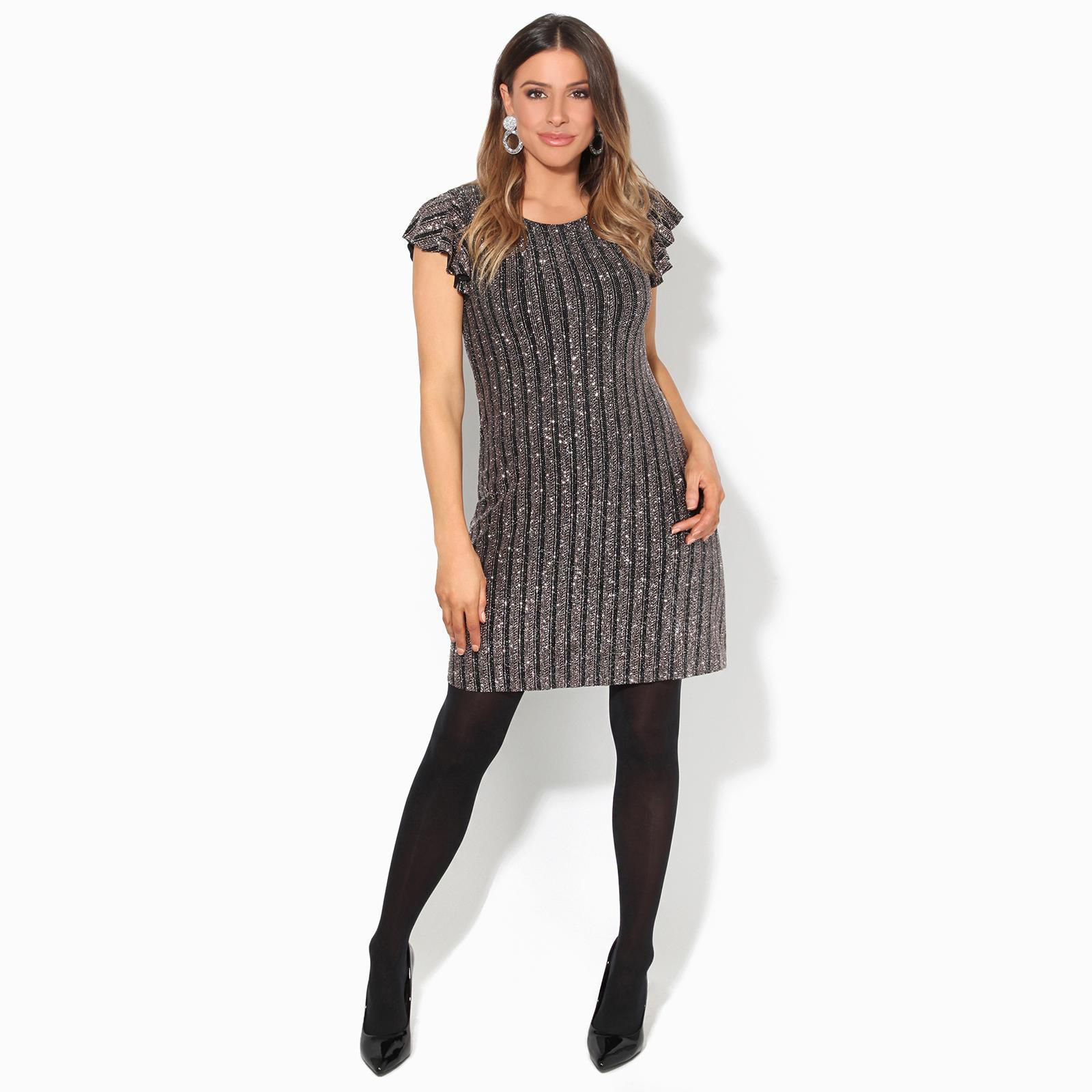 Womens-Ladies-Sequin-Glitter-Dress-Party-Ruffle-Sleeve-Evening-Lurex-Tunic-Top thumbnail 3