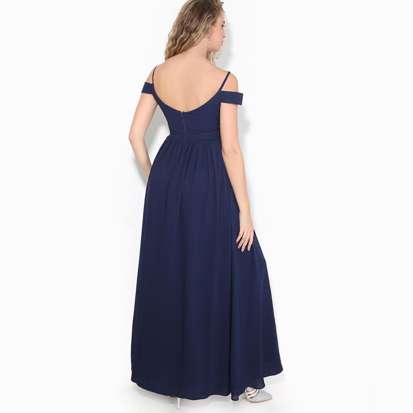 Womens-Ladies-Off-Shoulder-Formal-Maxi-Dress-Slit-Split-Long-Gown-Wedding-Party thumbnail 10