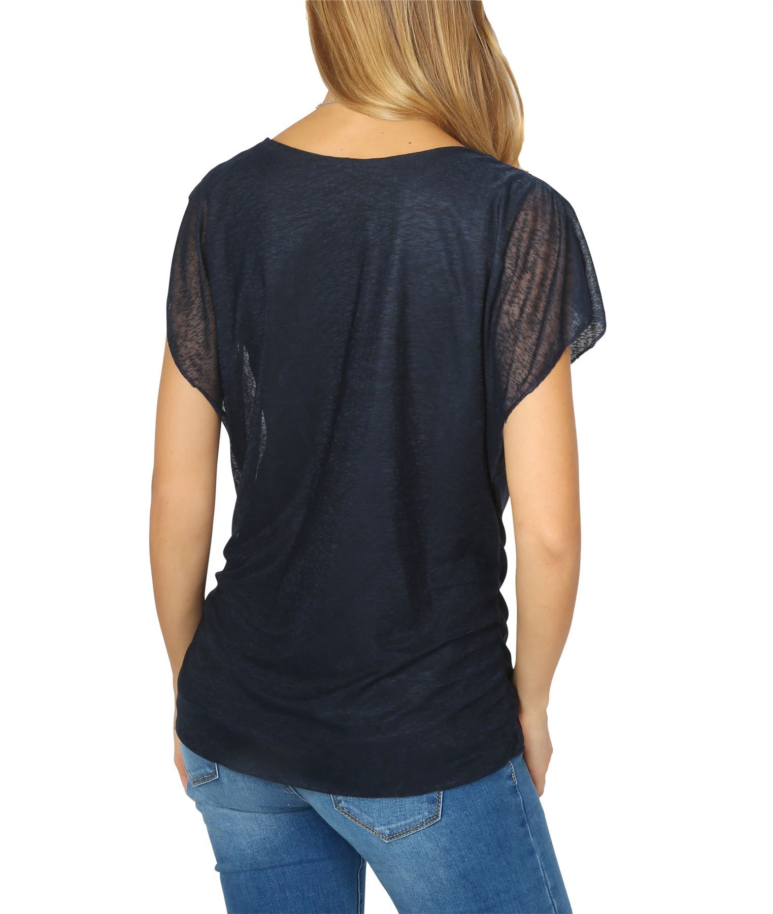 Womens-Ladies-Loose-Drape-T-Shirt-Pleated-Cowl-Neck-Top-Mesh-Tunic-Blouse-2-in-1 thumbnail 7