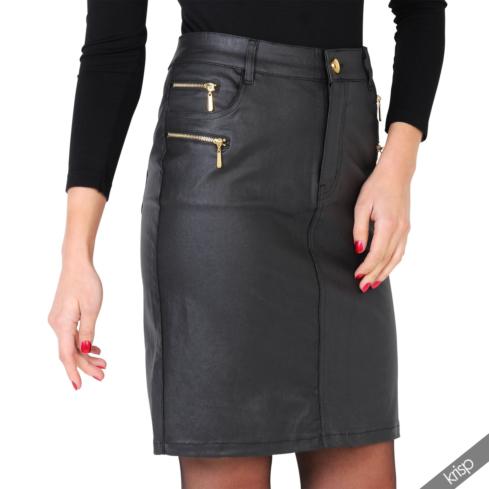 Womens-Ladies-Leather-Pencil-Skirt-Sexy-Wet-Look-Stretch-PU-Mini-Midi-Bodycon thumbnail 6