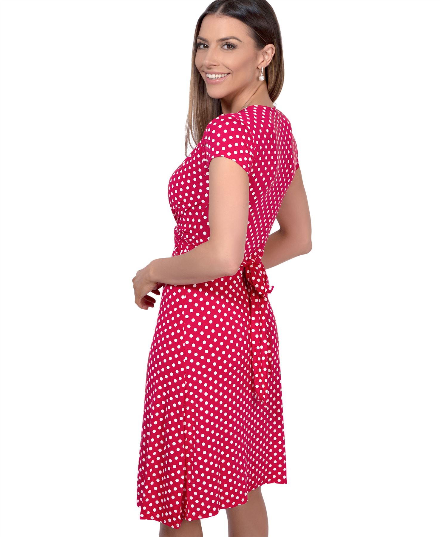 Womens-Polka-Dot-Dress-Pleated-Skirt-Wrap-Front-Mini-V-Neck-Top-Swing thumbnail 37