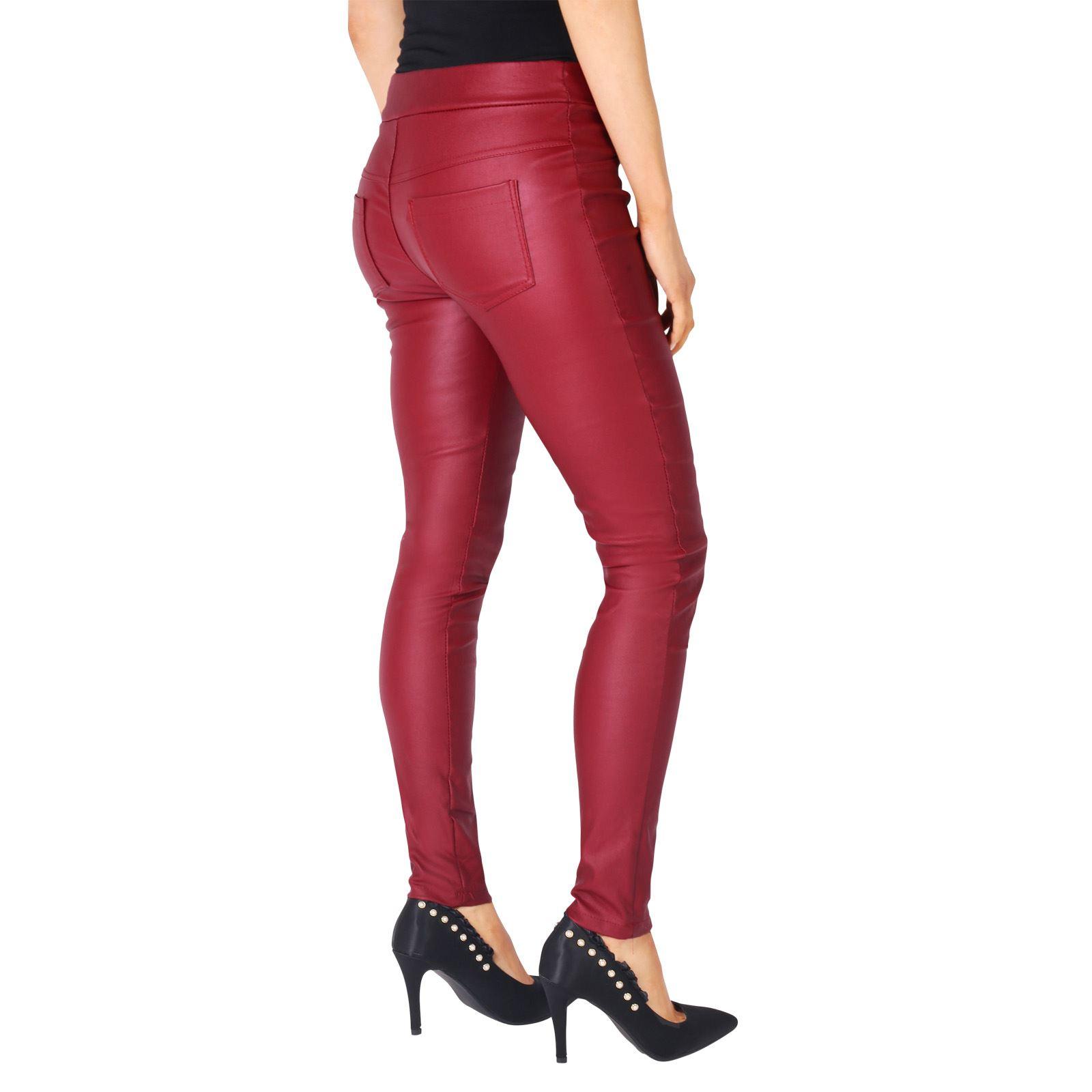 femmes legging pantalon slim jeans simili cuir extensible jegging taille haute ebay. Black Bedroom Furniture Sets. Home Design Ideas