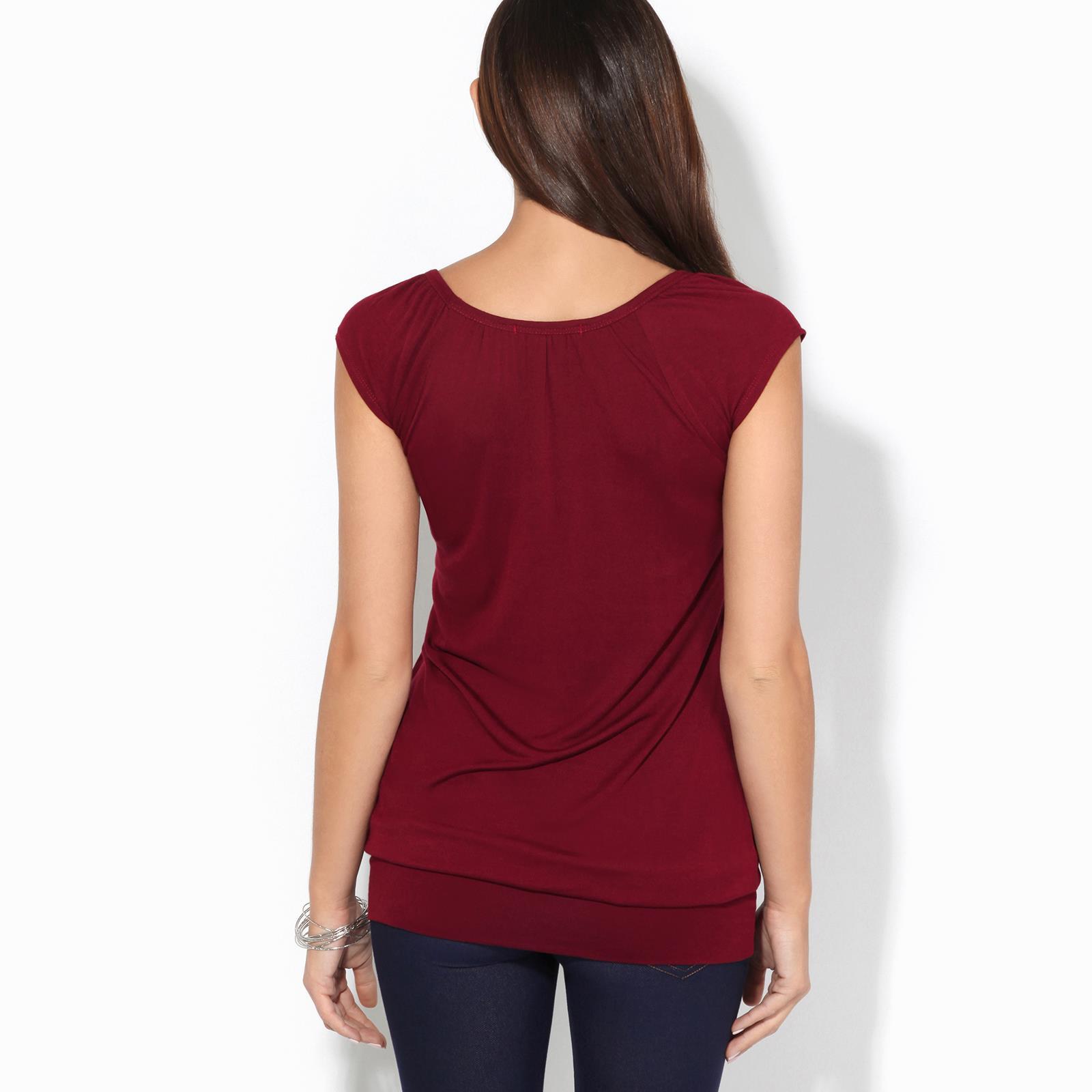 Womens-Ladies-Scoop-Neck-Blouse-V-T-Shirt-Long-Short-Sleeve-Plain-Loose-Top thumbnail 57