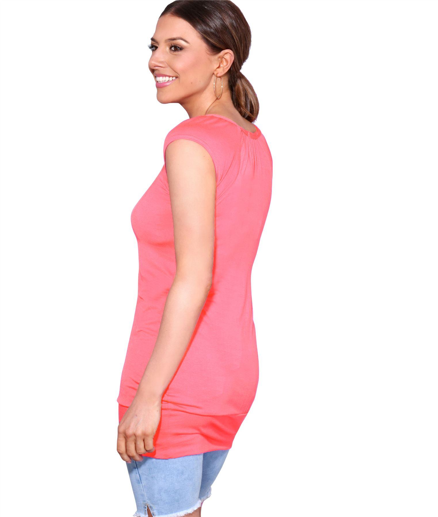 Womens-Ladies-Plain-T-Shirt-Short-Sleeve-Long-Loose-V-Neck-Blouse-Tunic-Top thumbnail 18