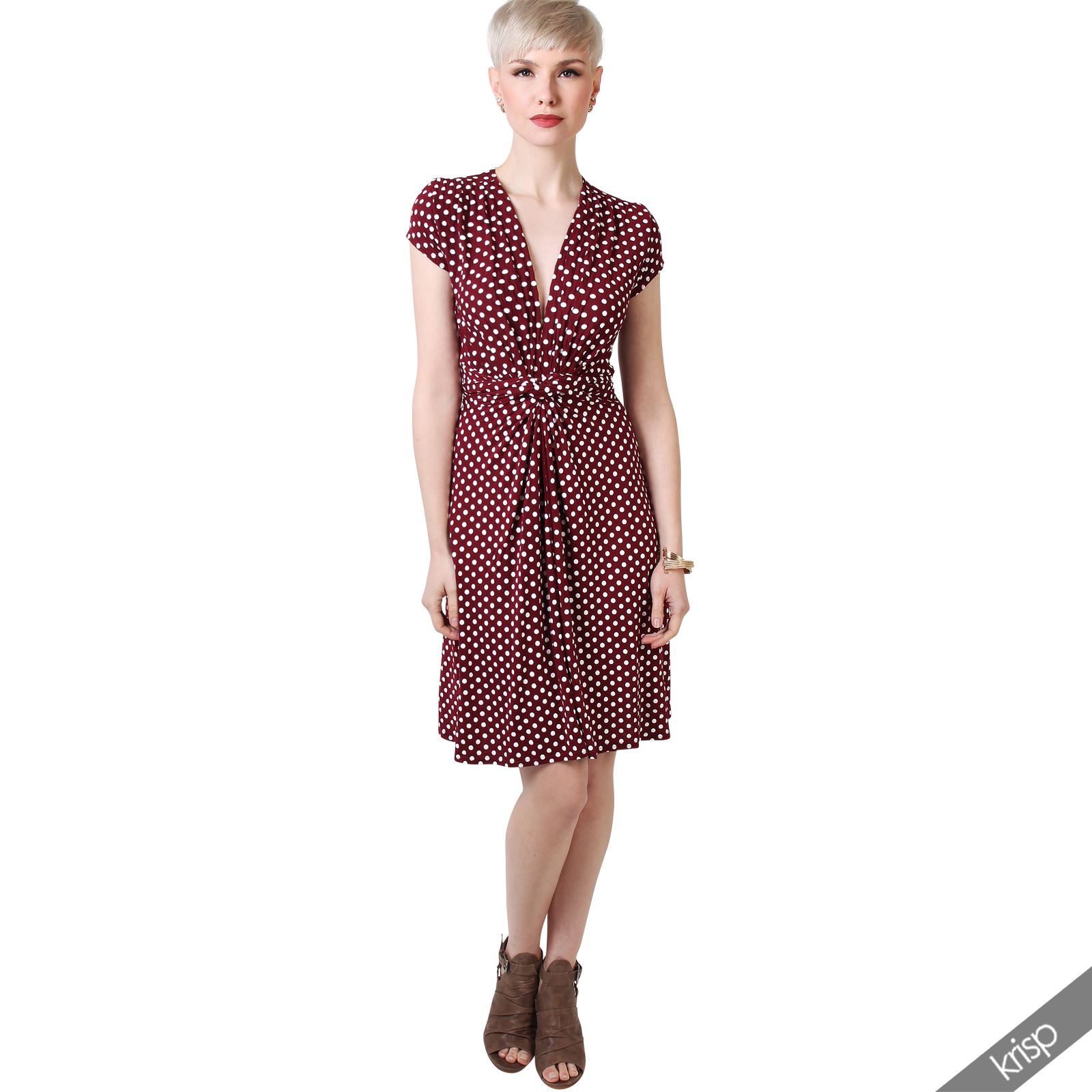 Womens-Polka-Dot-Dress-Pleated-Skirt-Wrap-Front-Mini-V-Neck-Top-Swing thumbnail 45