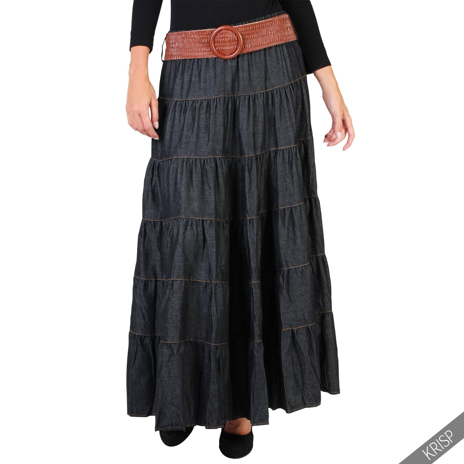 womens tiered casual boho vintage belt denim maxi