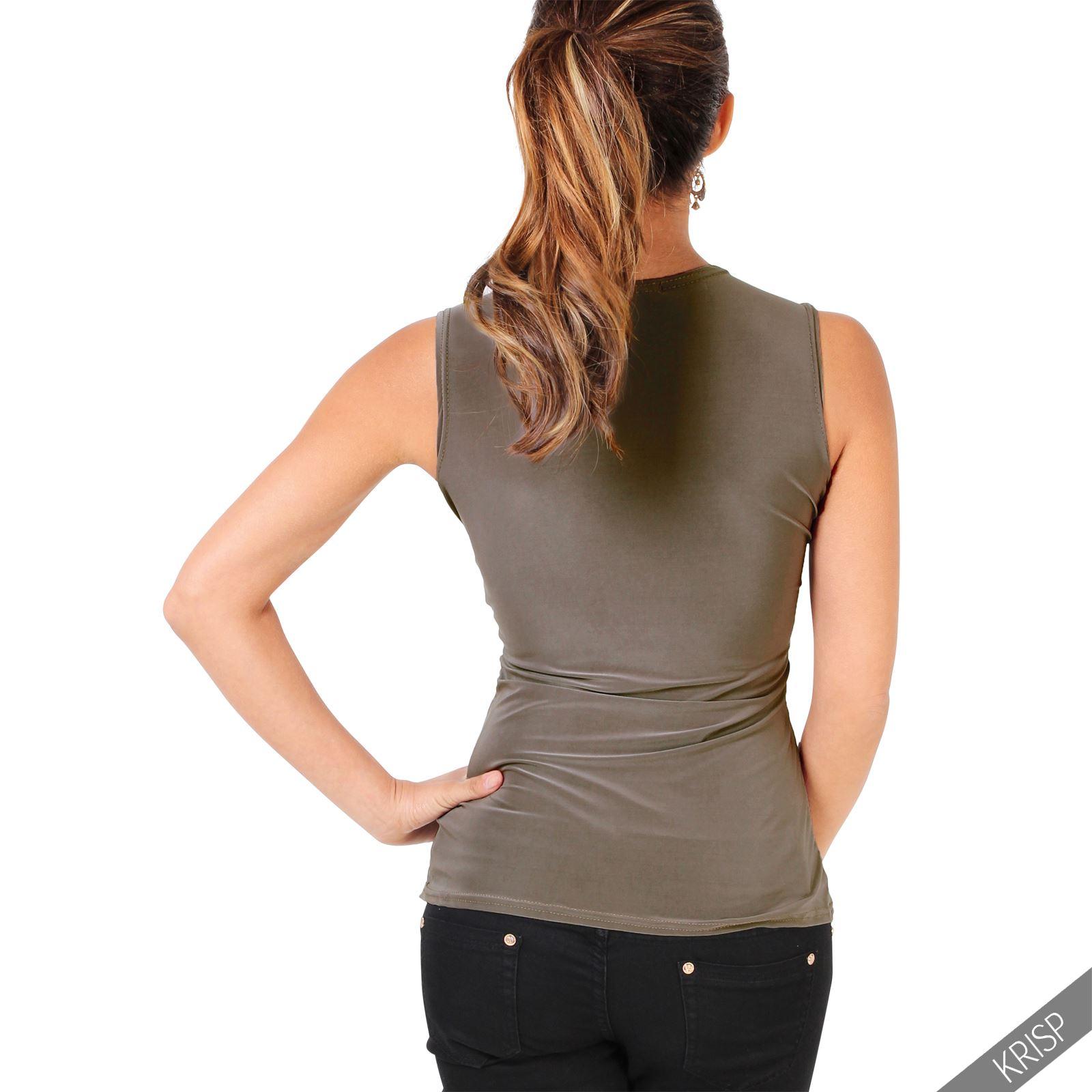 Femmes-Haut-Debardeur-T-shirt-Tee-Shirt-Top-Sans-Manche-Uni-Affaires-Ete-Plage miniature 8