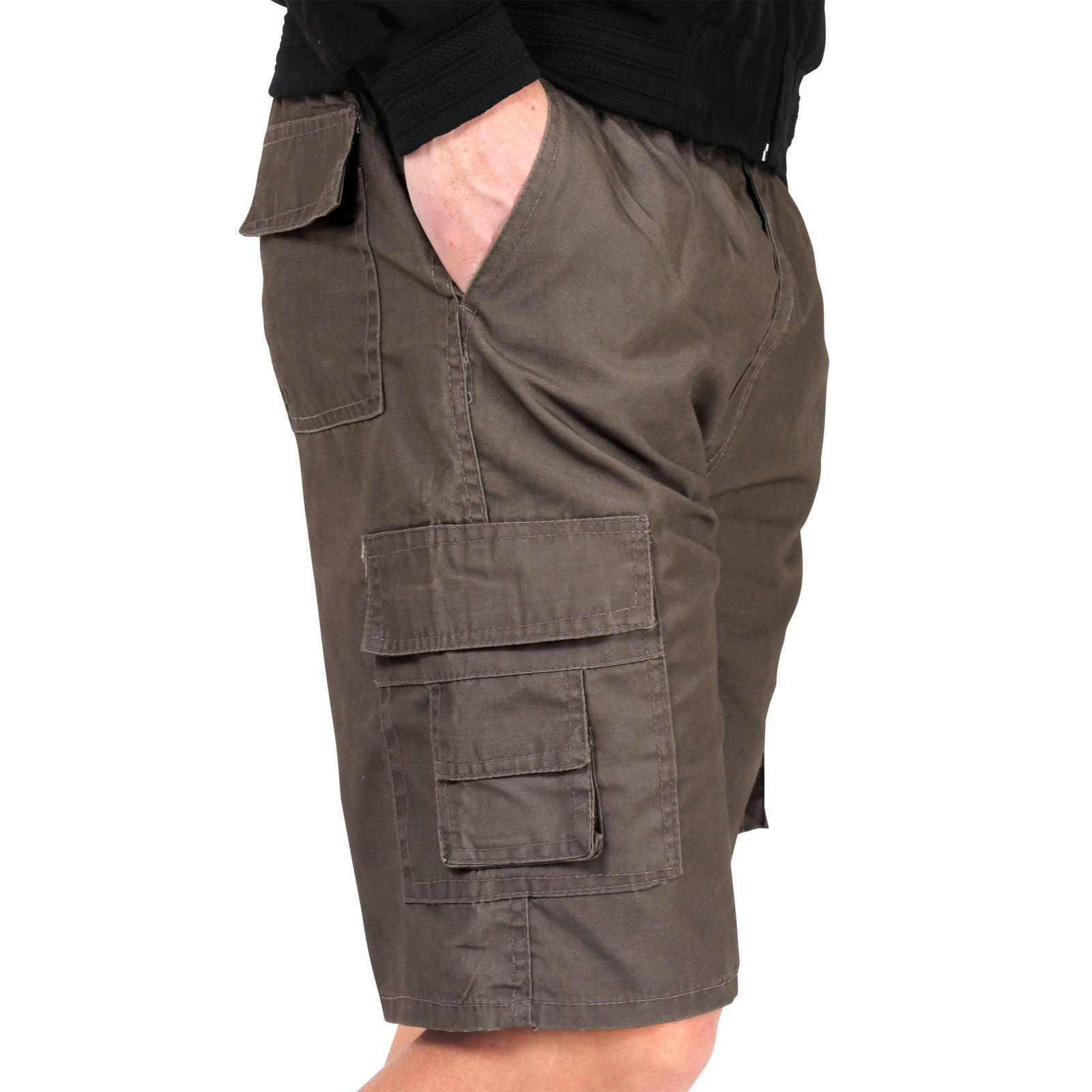 herren einfarbige cargo shorts kurze hose baumwolle regular sommer freizeit ebay. Black Bedroom Furniture Sets. Home Design Ideas