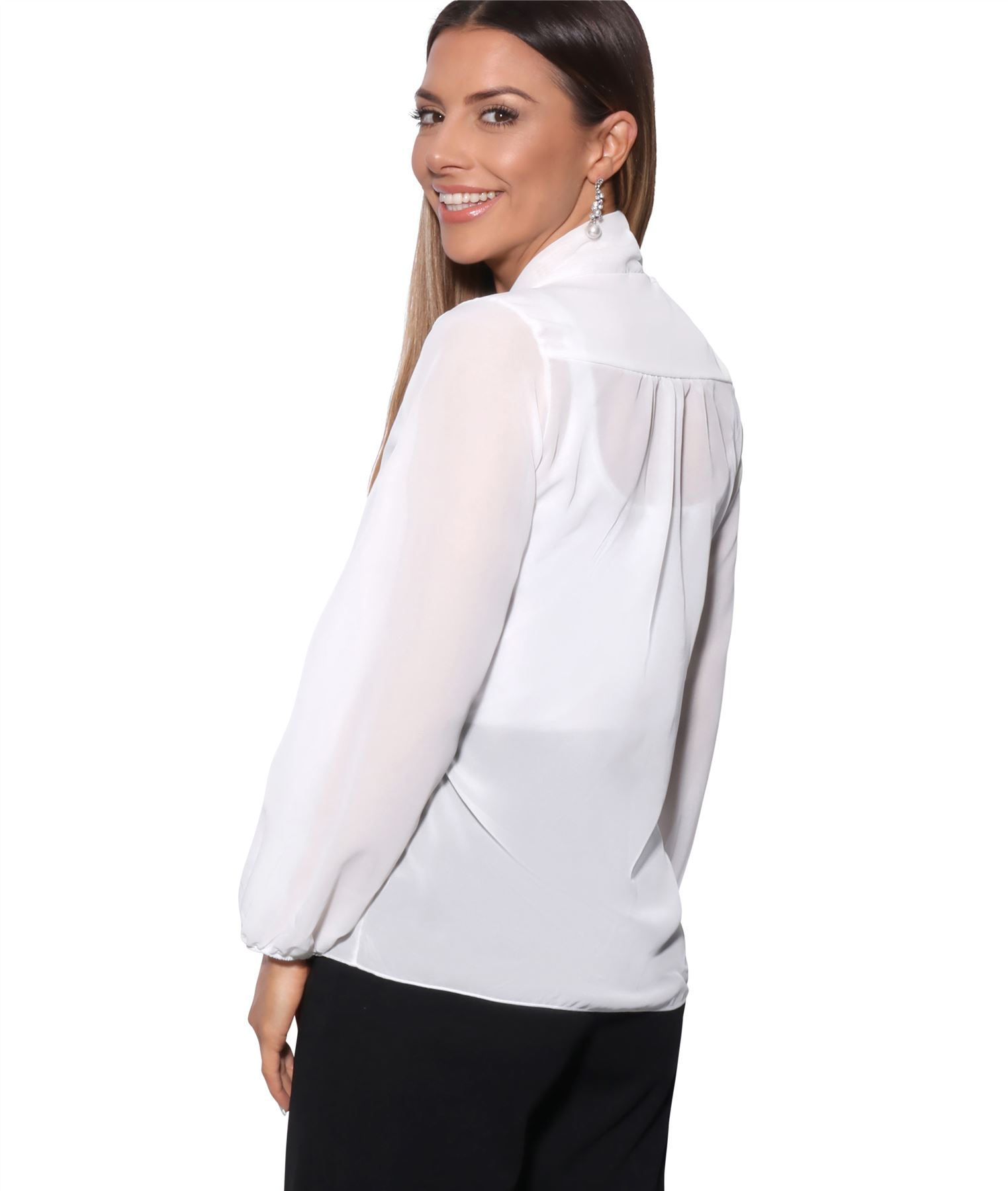 Womens-Ladies-Chiffon-Blouse-Long-Sleeve-Pussy-Bow-Top-Plain-Shirt-Office-Party thumbnail 9